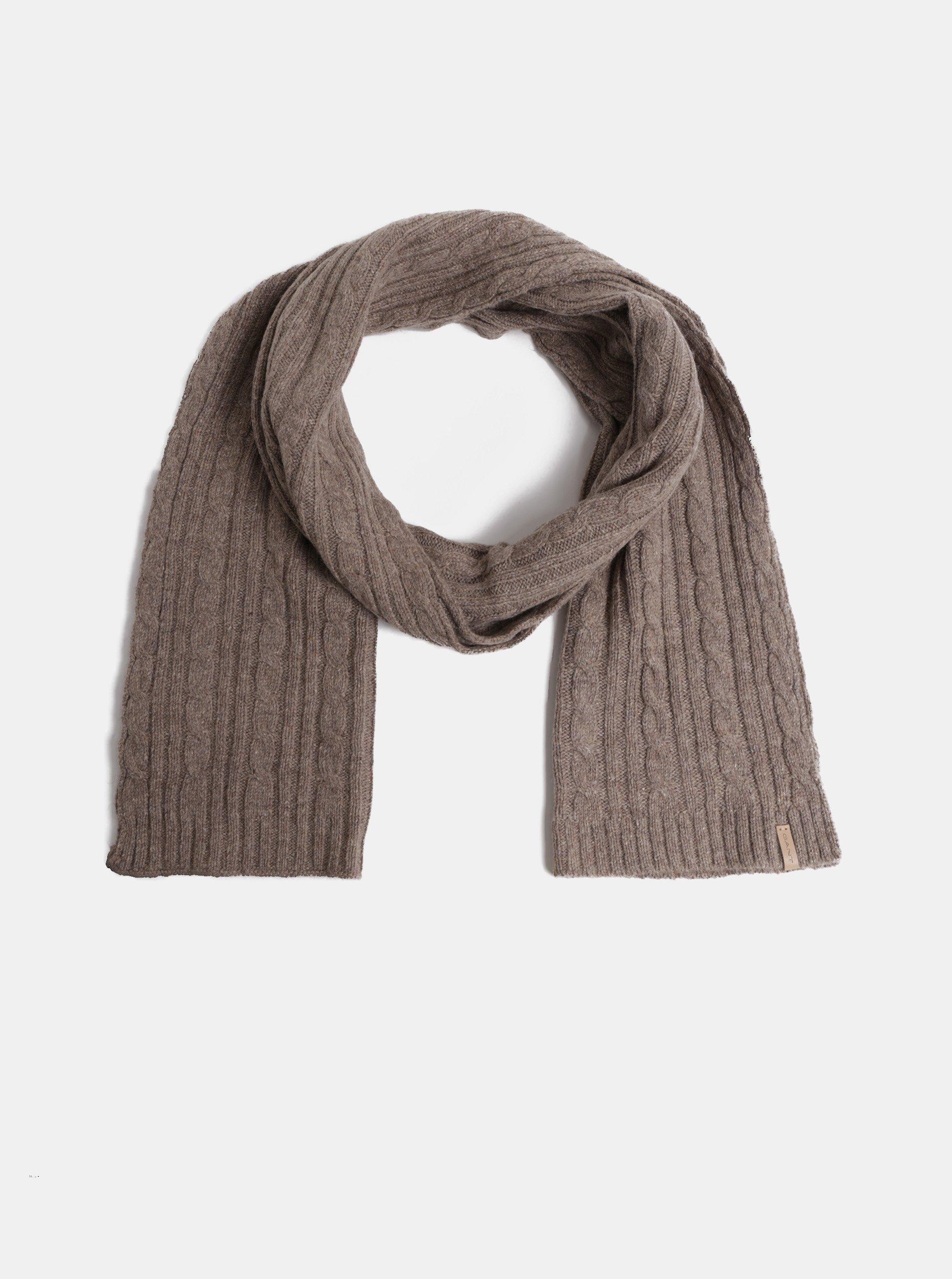 Hnědá dámská pletená šála s příměsí vlny GANT 51133ce818
