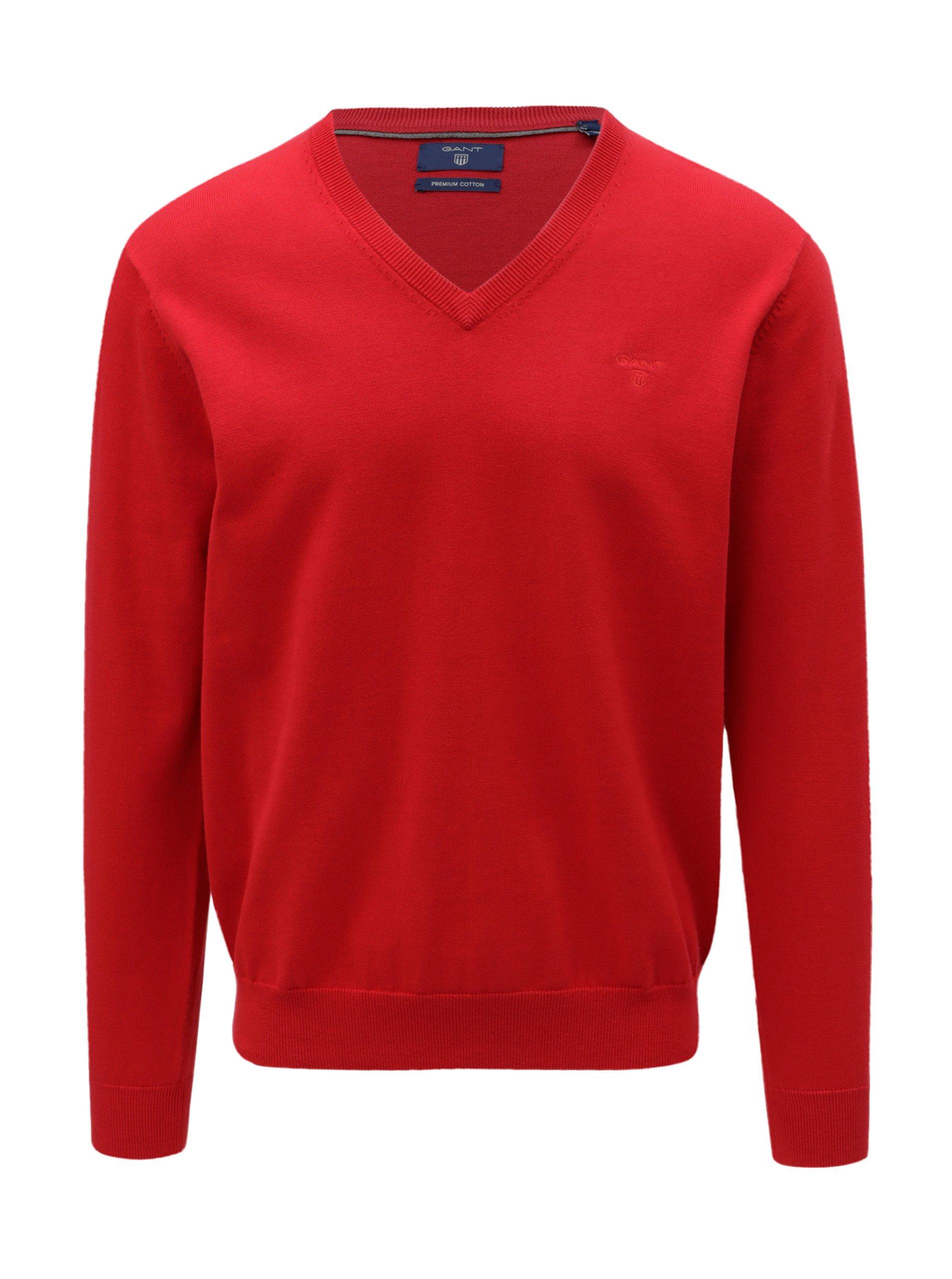 Červený pánský svetr s véčkovým výstřihem GANT