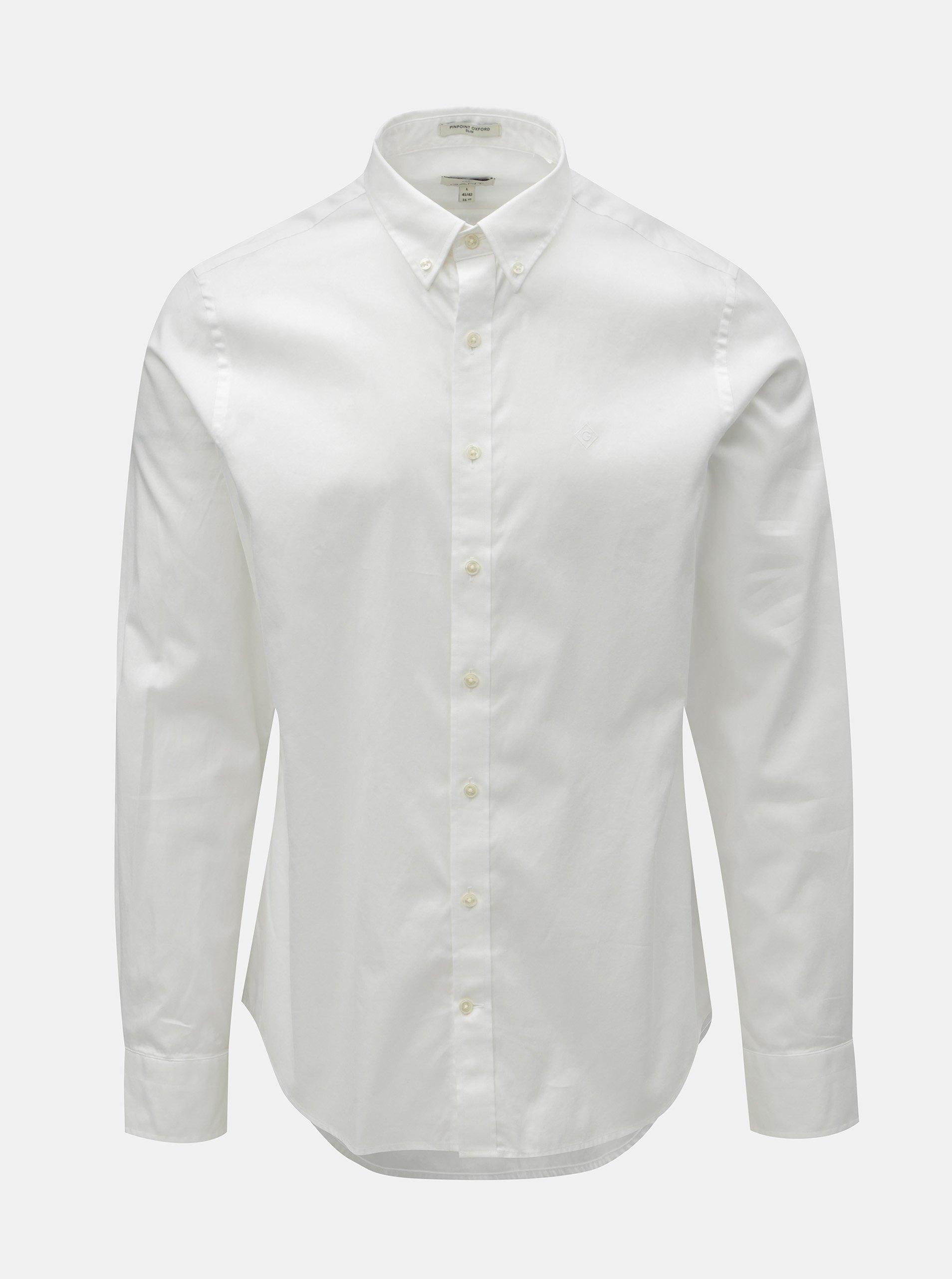 Bílá pánská formální slim fit košile GANT 5b86cd8035