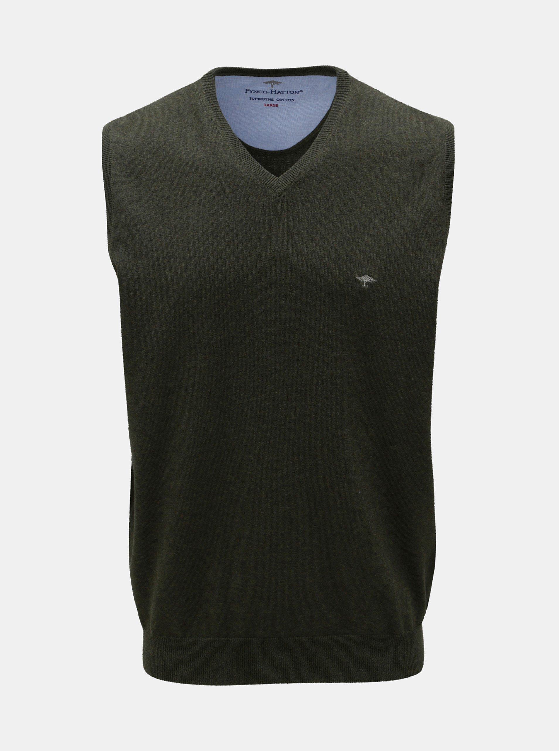 Zelená svetrová vesta s véčkovým výstřihem Fynch-Hatton