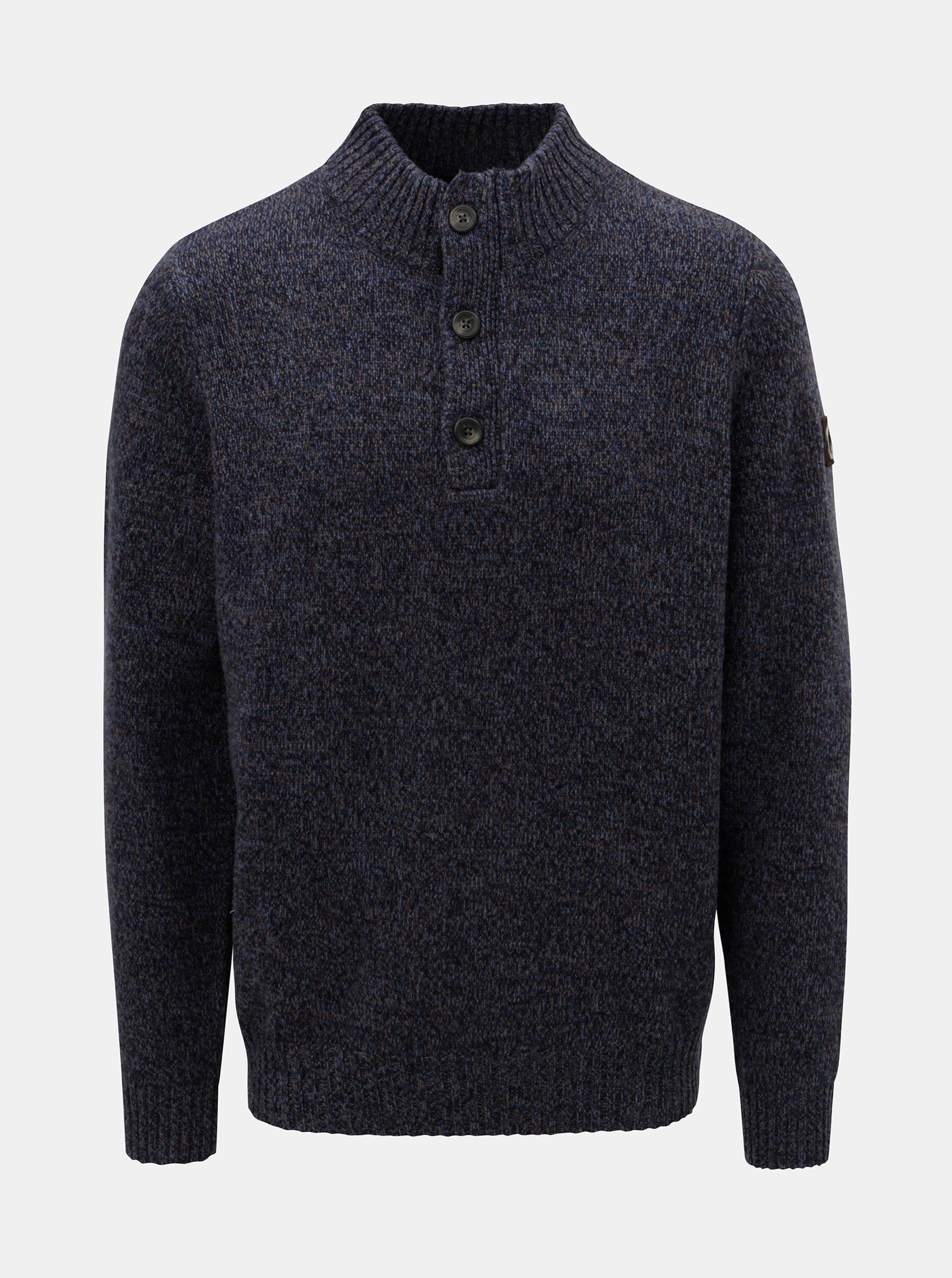 Modrý žíhaný svetr z Merino vlny Fynch-Hatton