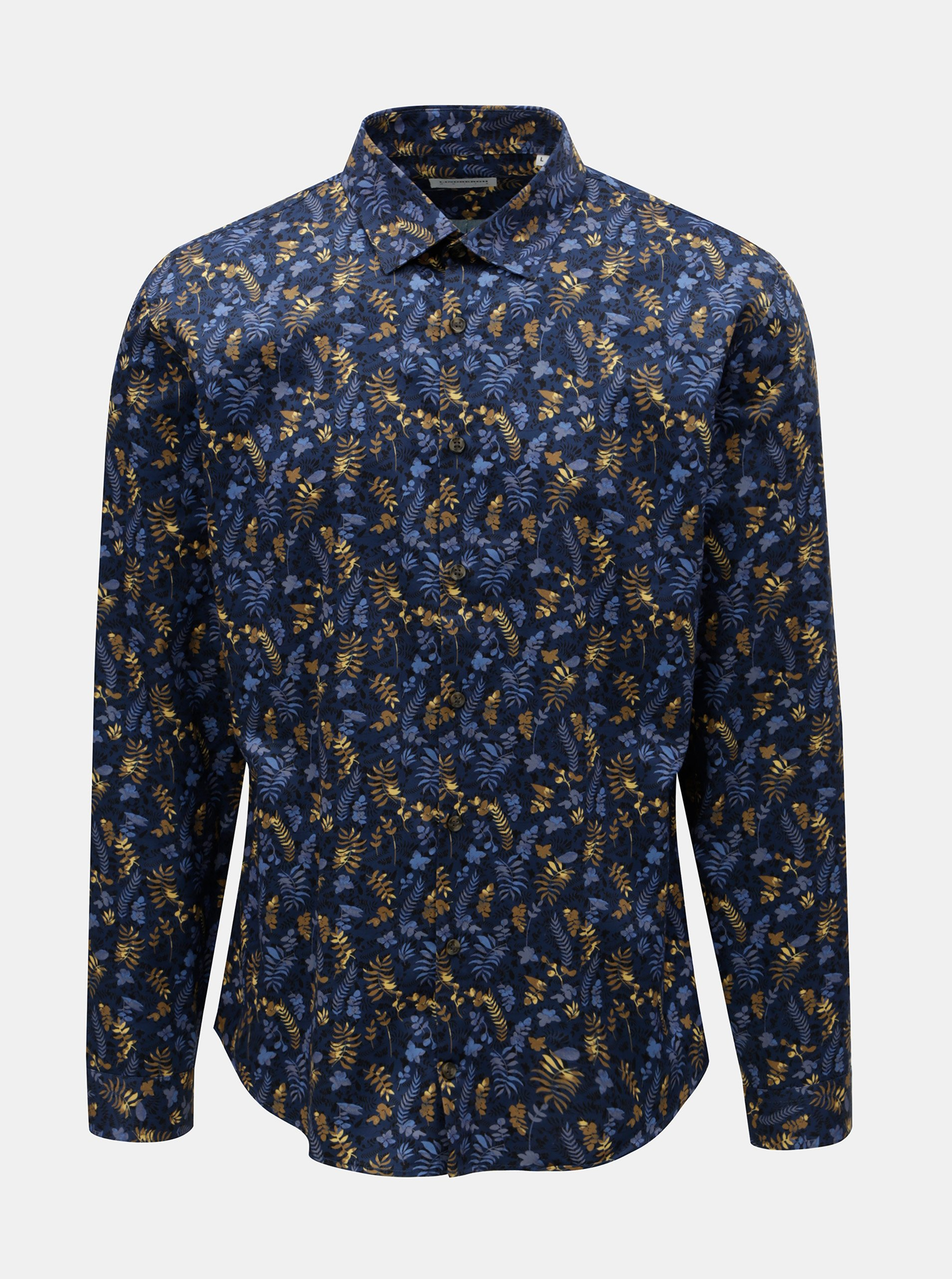 Tmavě modrá květovaná košile Lindbergh 7bd4adb5a5