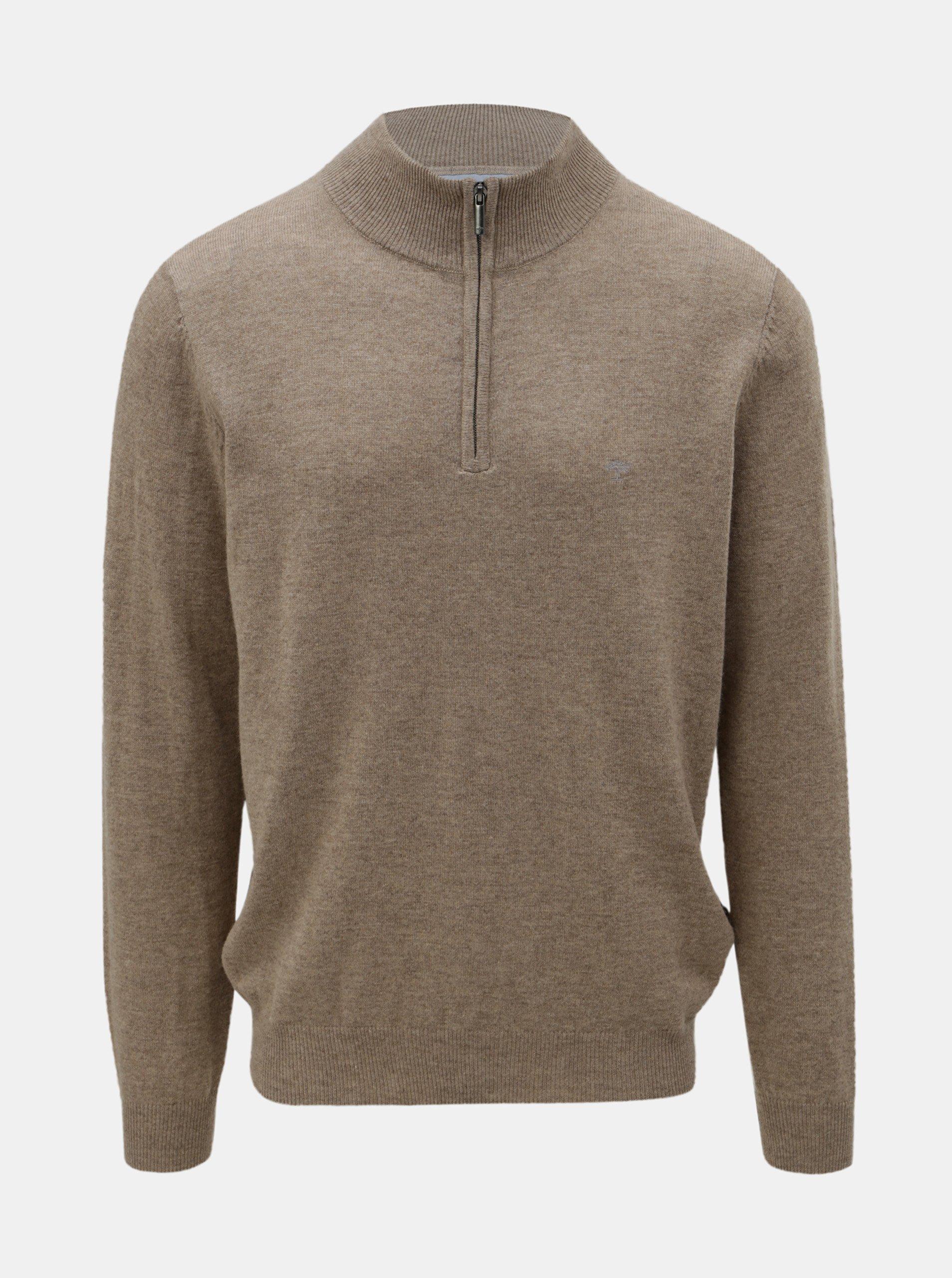 Hnědý svetr z merino vlny s příměsí kašmíru Fynch-Hatton
