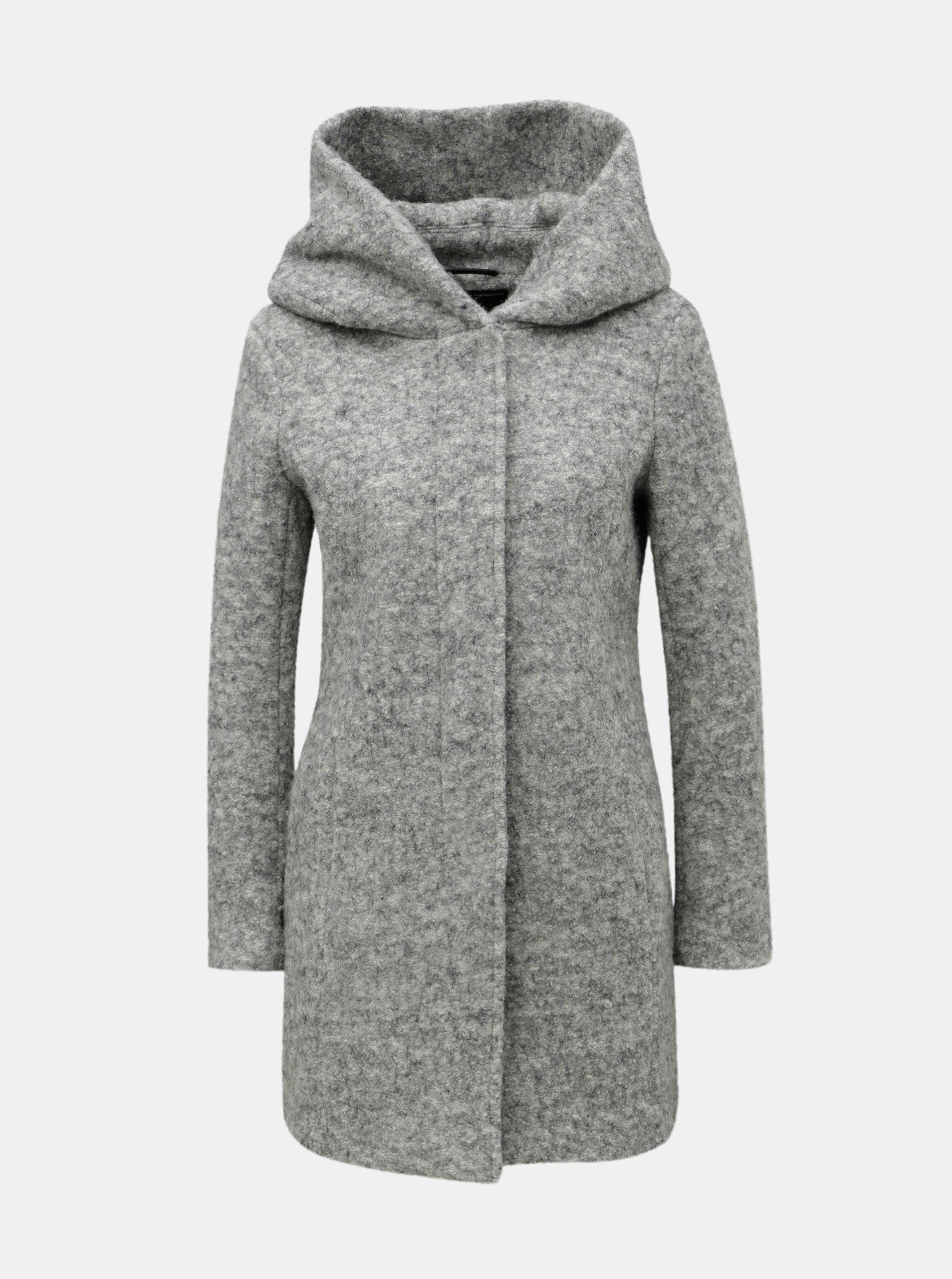 Svetlosivý melírovaný kabát s prímesou vlny ONLY