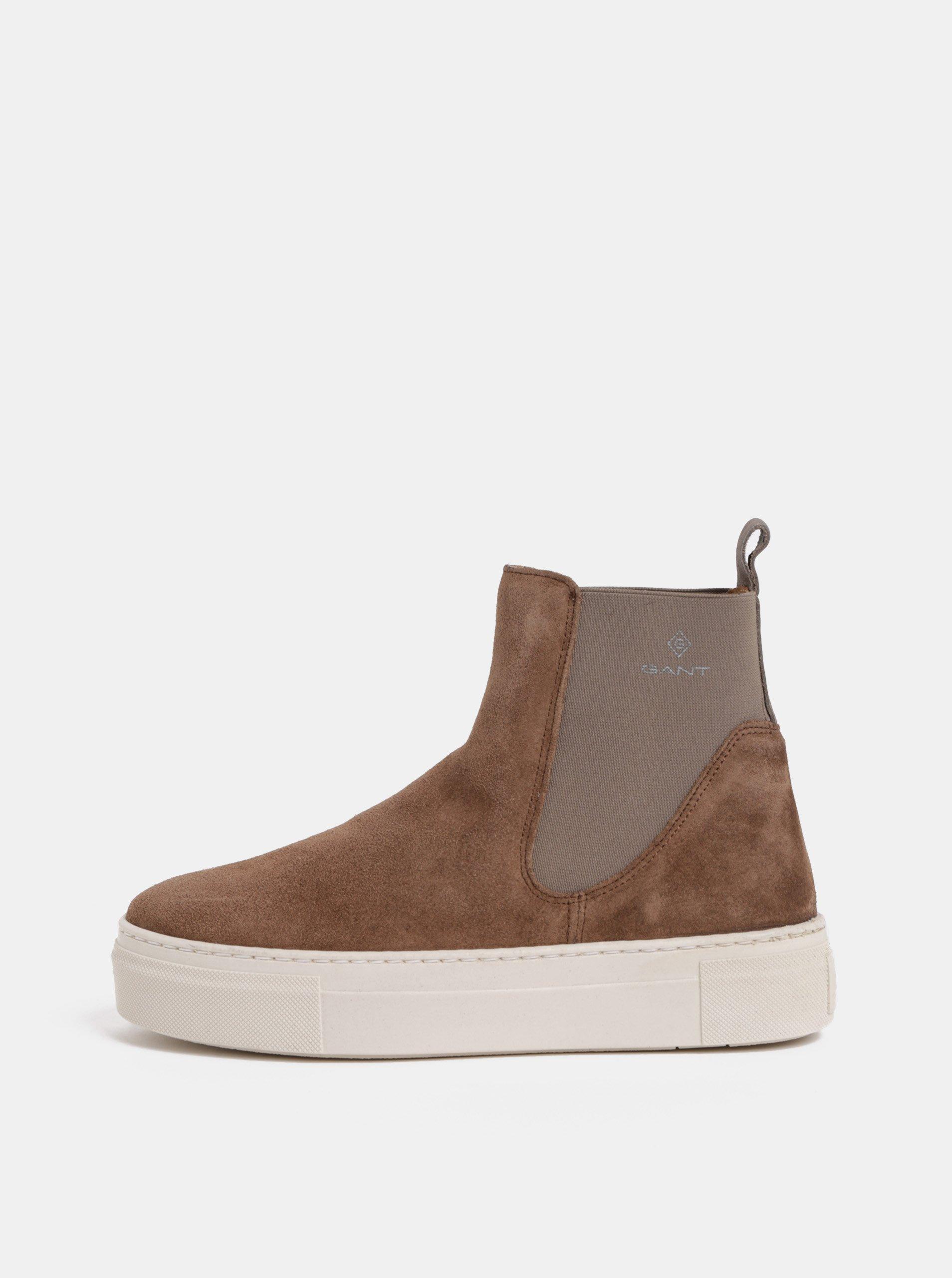 Hnědé dámské semišové chelsea boty na platformě GANT Marie