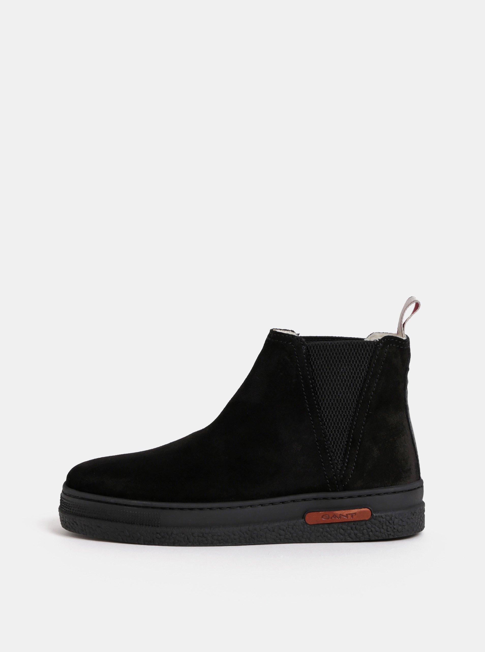 0b81e3742 Čierne dámske semišové zimné chelsea topánky s vlnenou podšívkou GANT