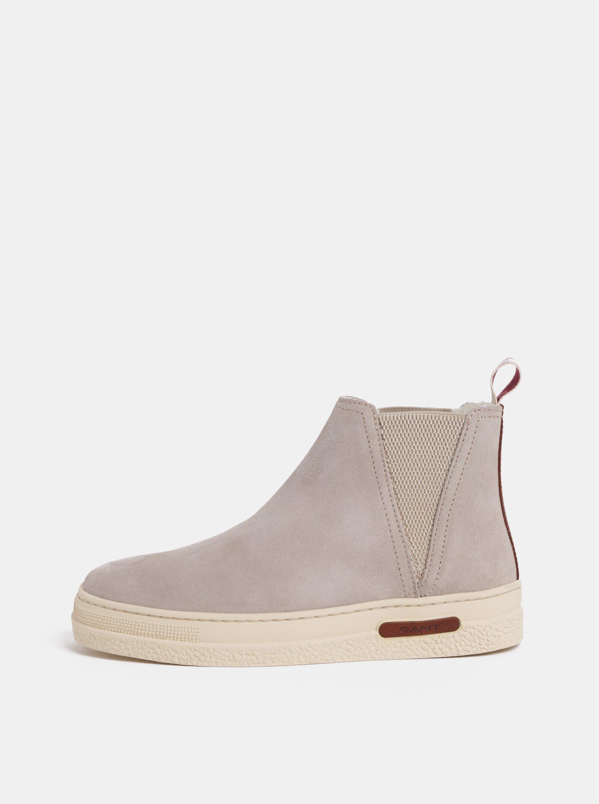 Světle šedé dámské semišové zimní boty s vlněnou podšívkou GANT Maria