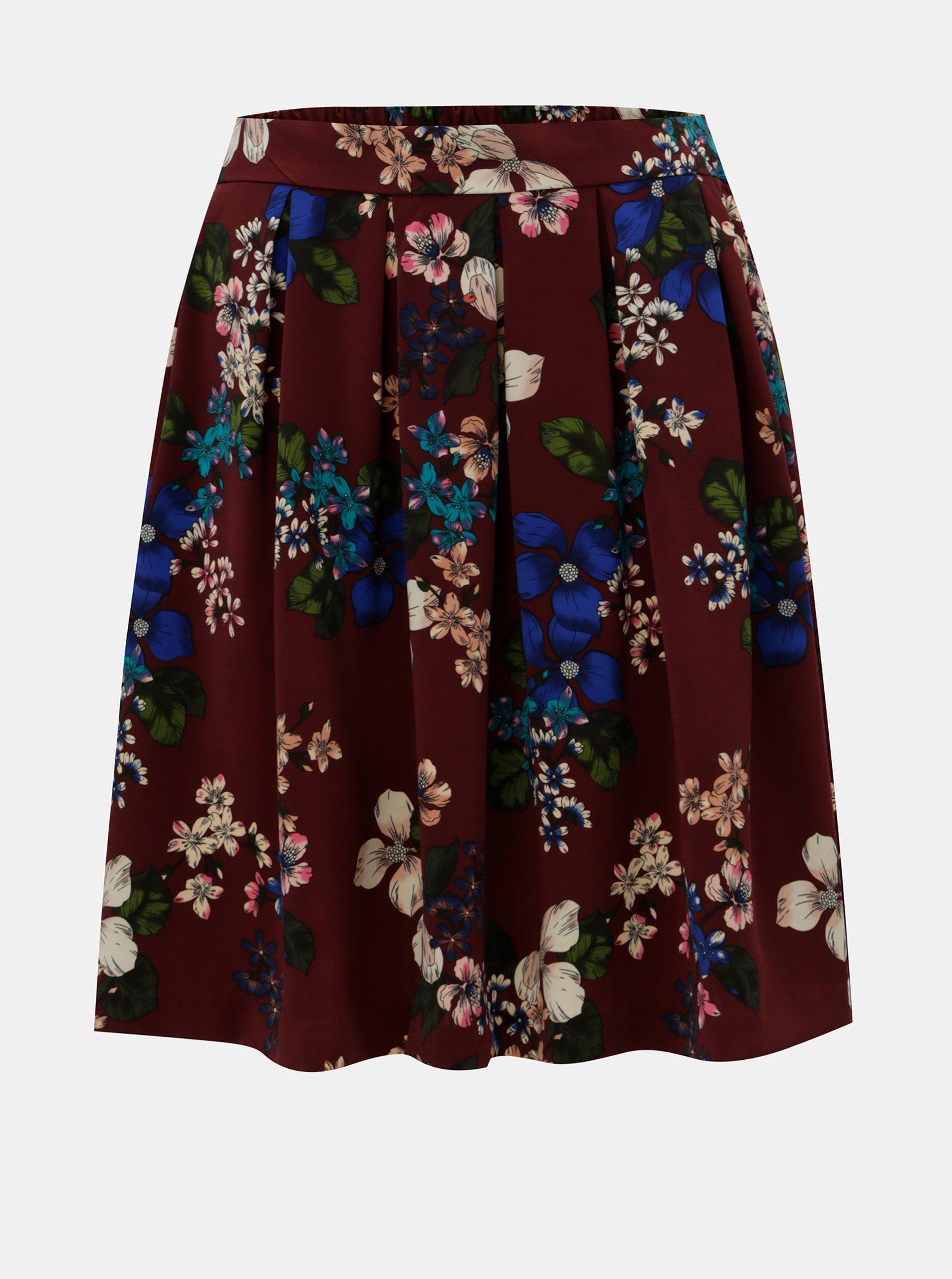 Vínová áčková květovaná sukně ONLY Doris