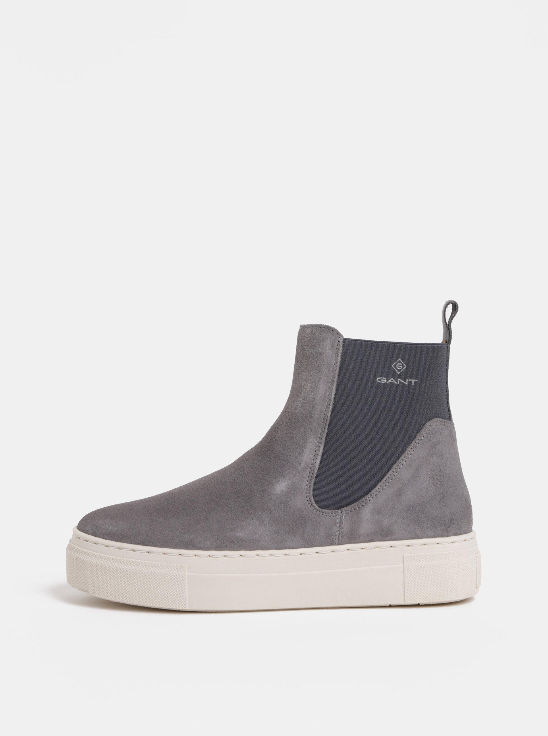 Šedé dámské semišové chelsea boty na platformě GANT Marie