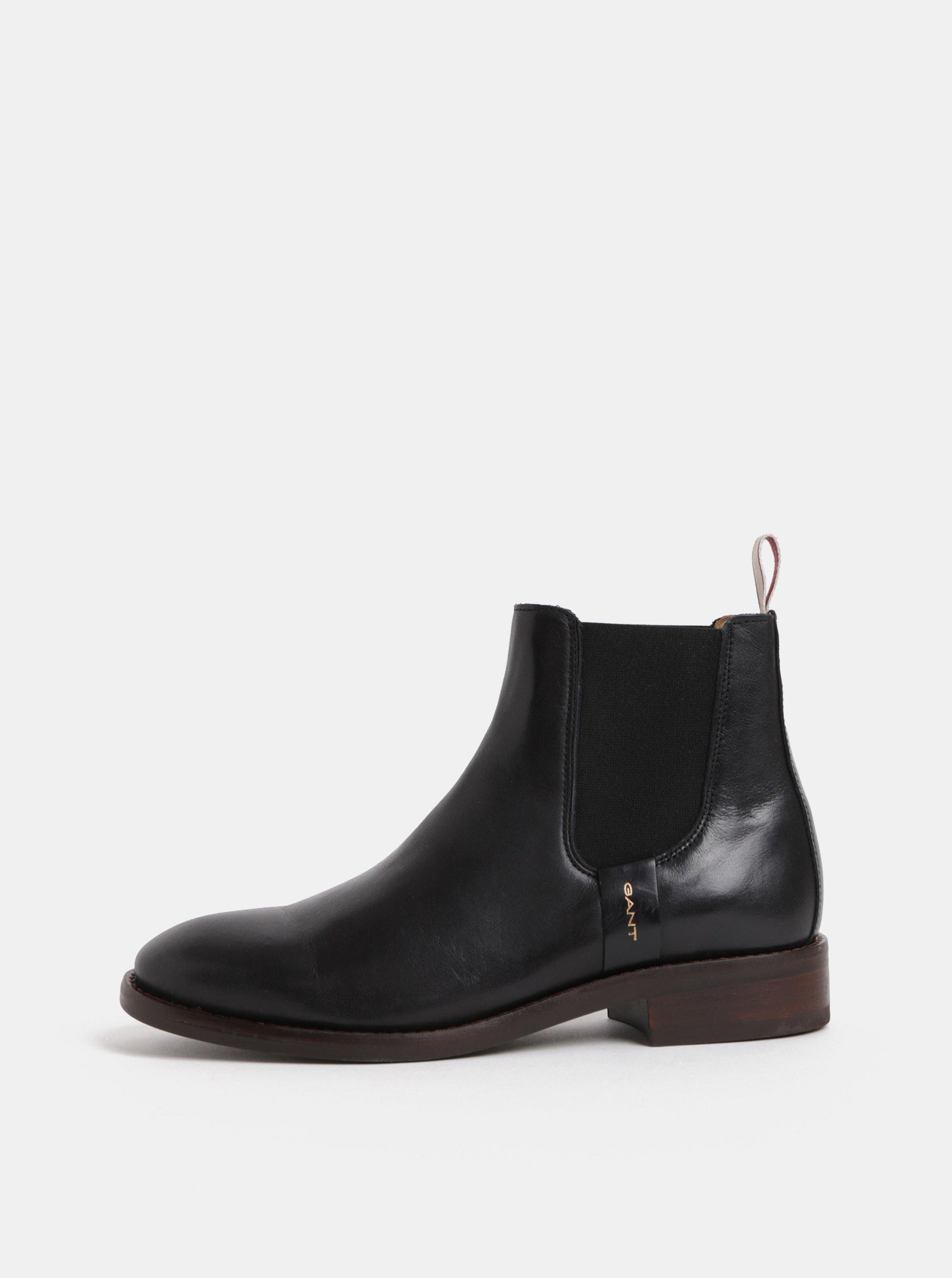 84a731bd6468 Čierne dámske kožené chelsea topánky GANT