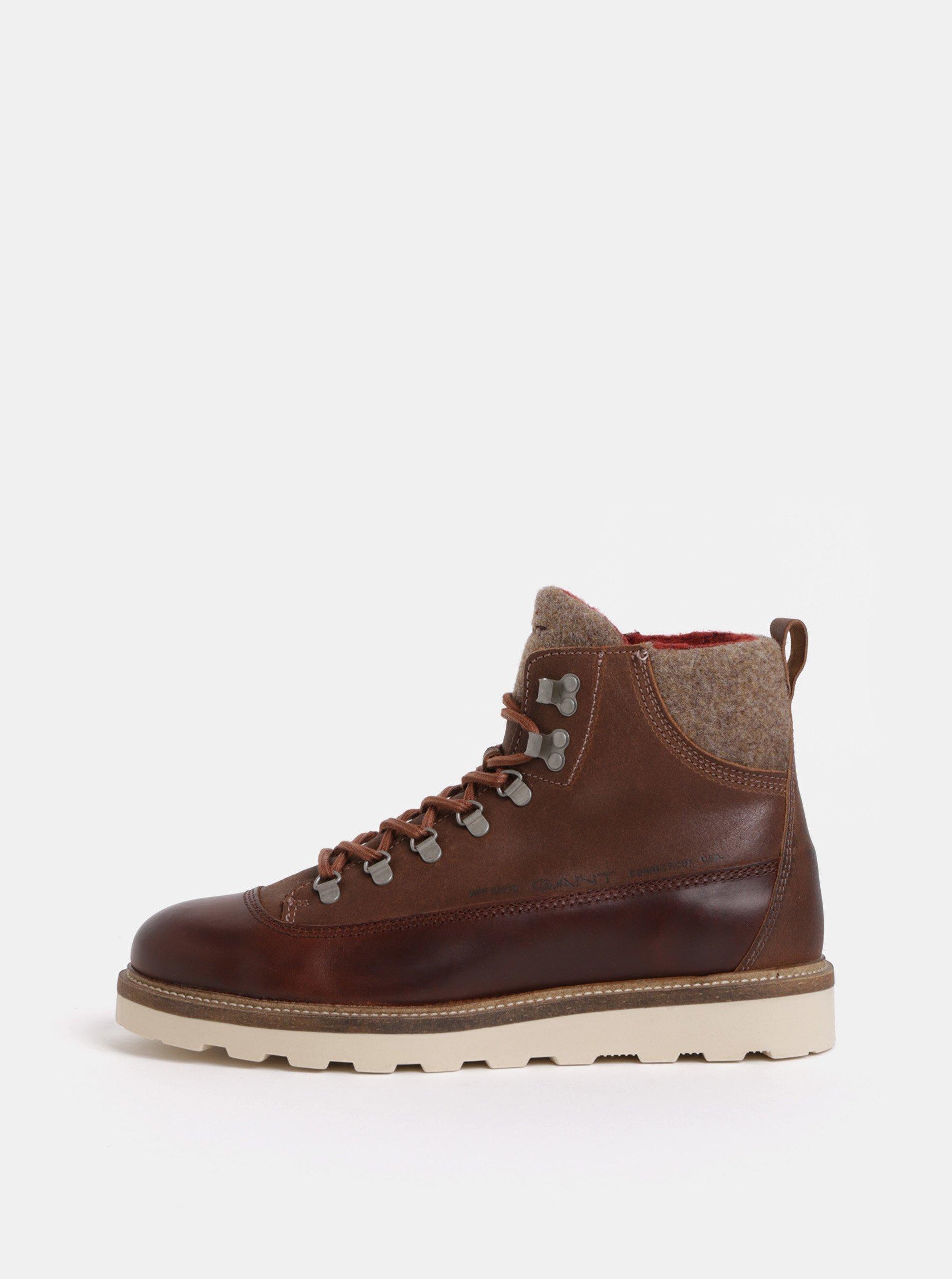 Hnědé pánské kožené kotníkové zimní boty s vlněnou podšívkou GANT Don