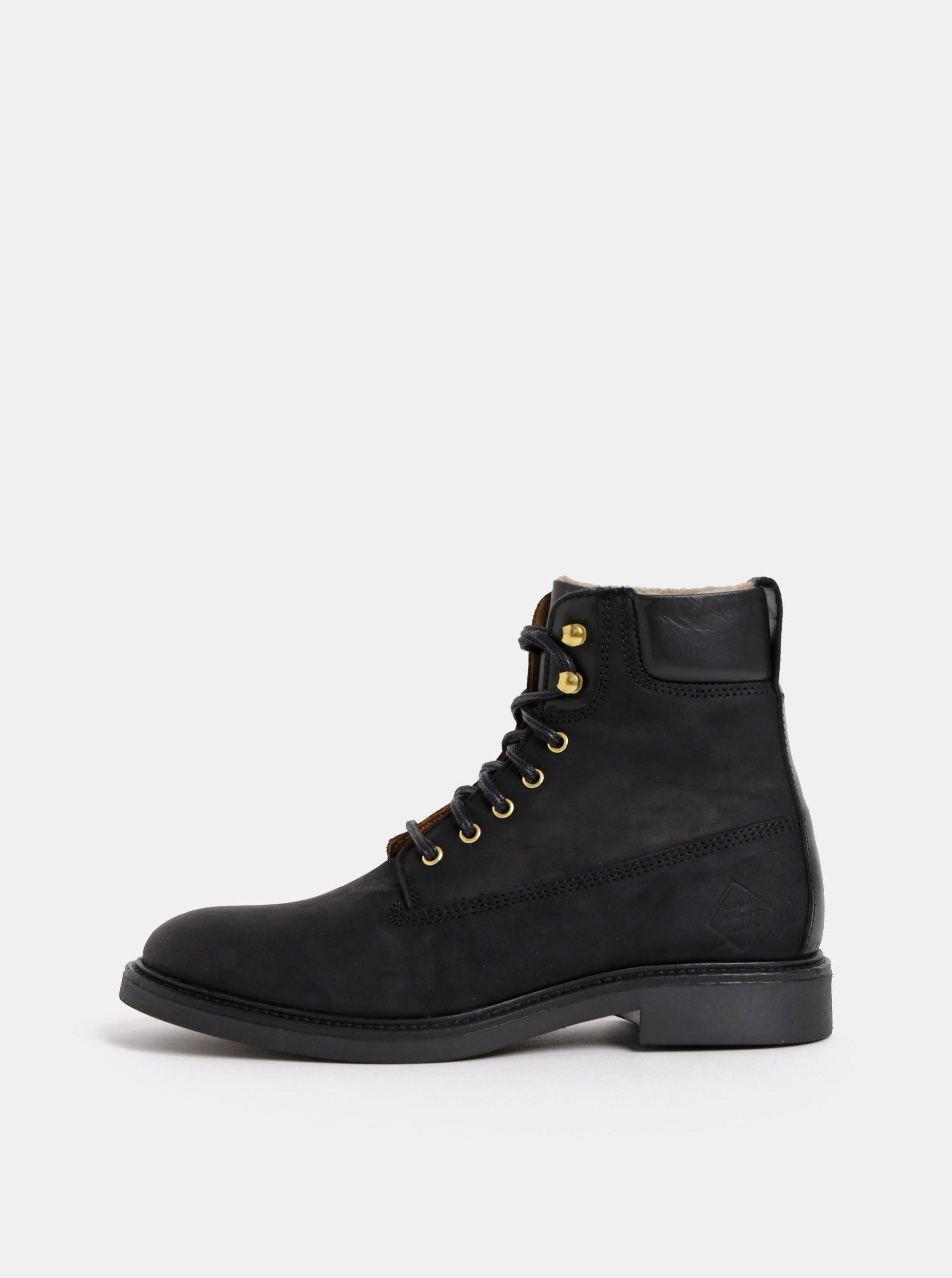 8b9c33642ba Černé dámské kožené kotníkové zimní boty GANT Ashley