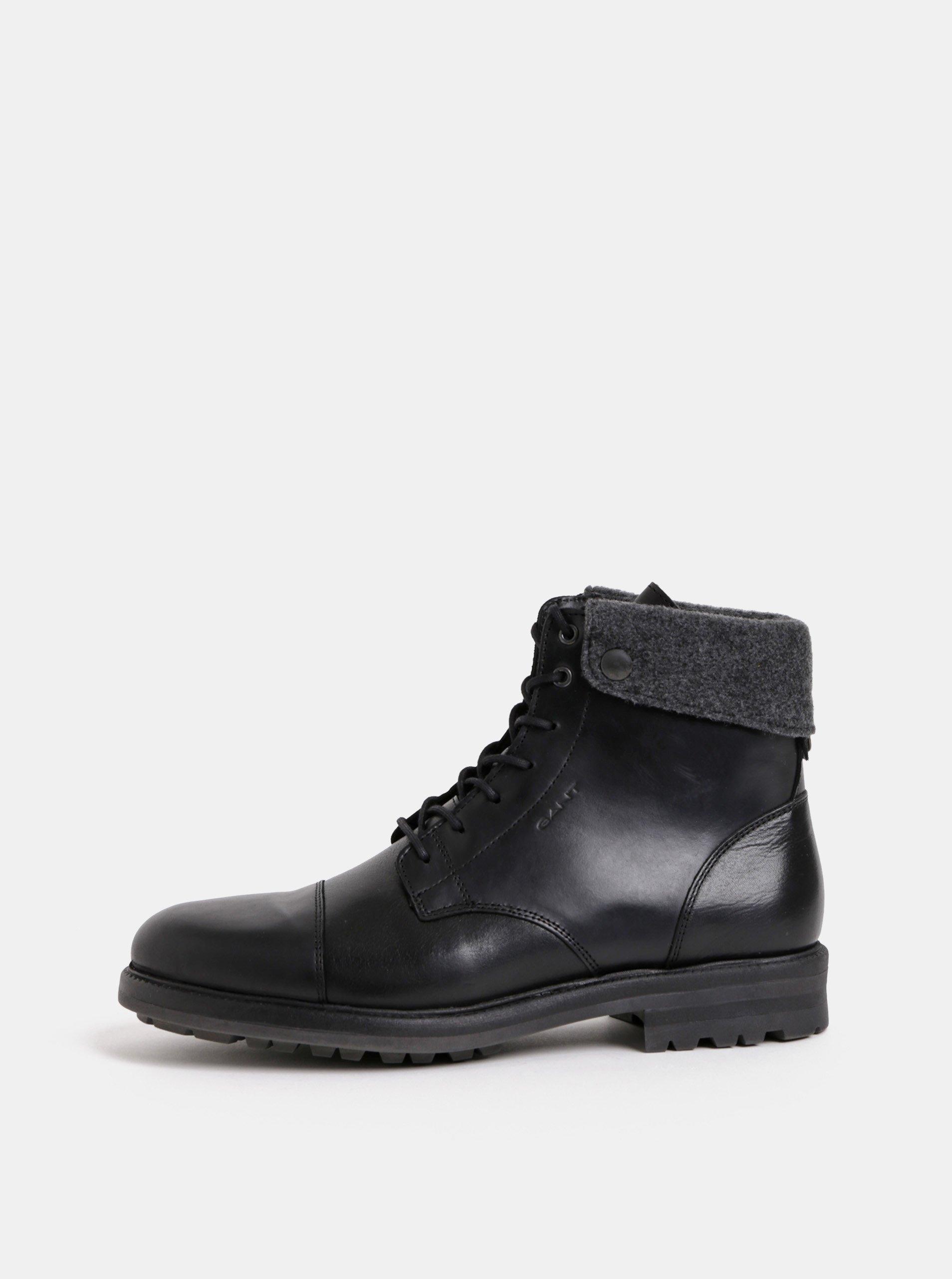 Černé pánské kožené kotníkové zimní boty GANT Nobel 27096abd94
