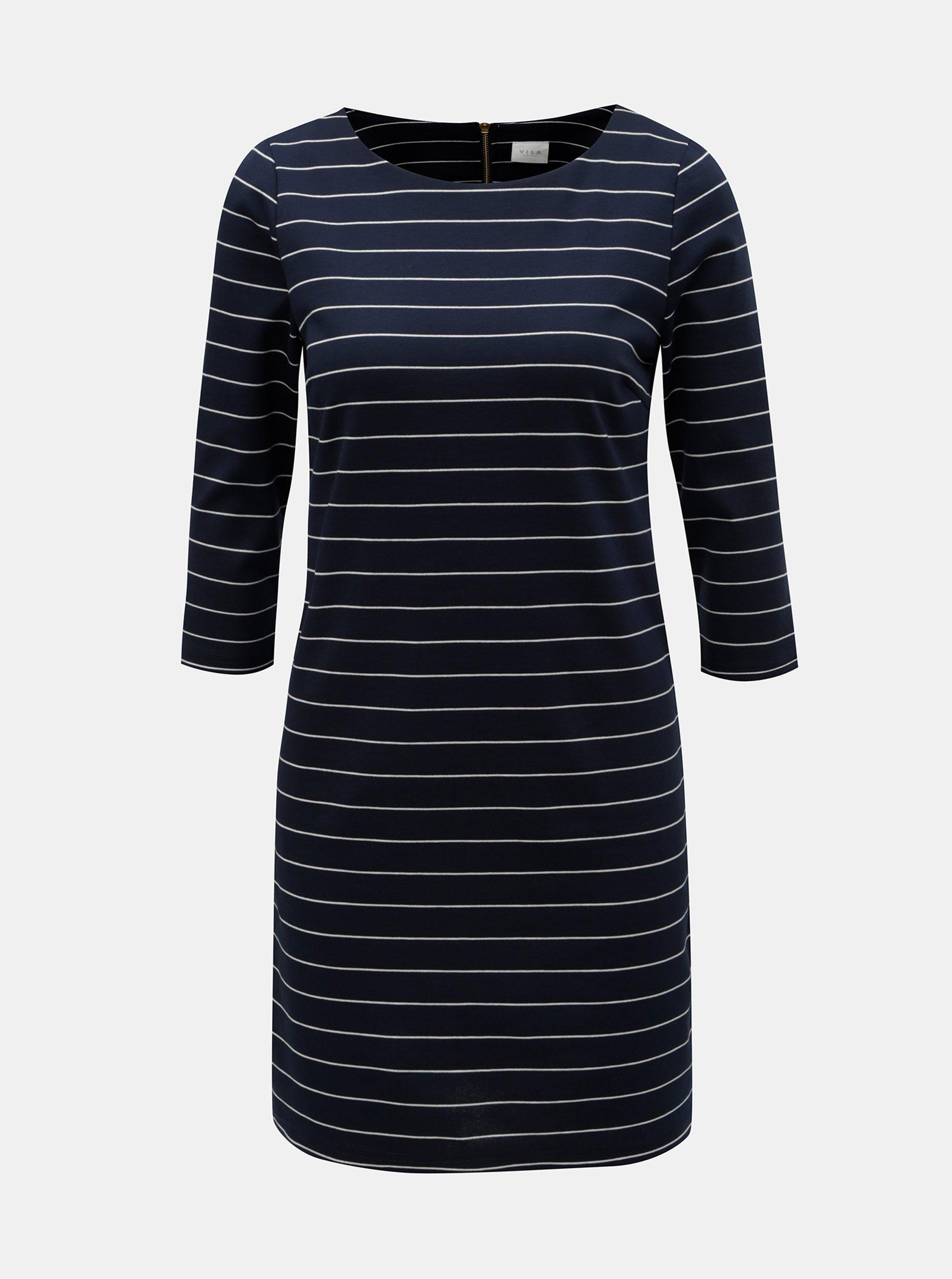 e9cd6d938229 Tmavomodré pruhované šaty VILA