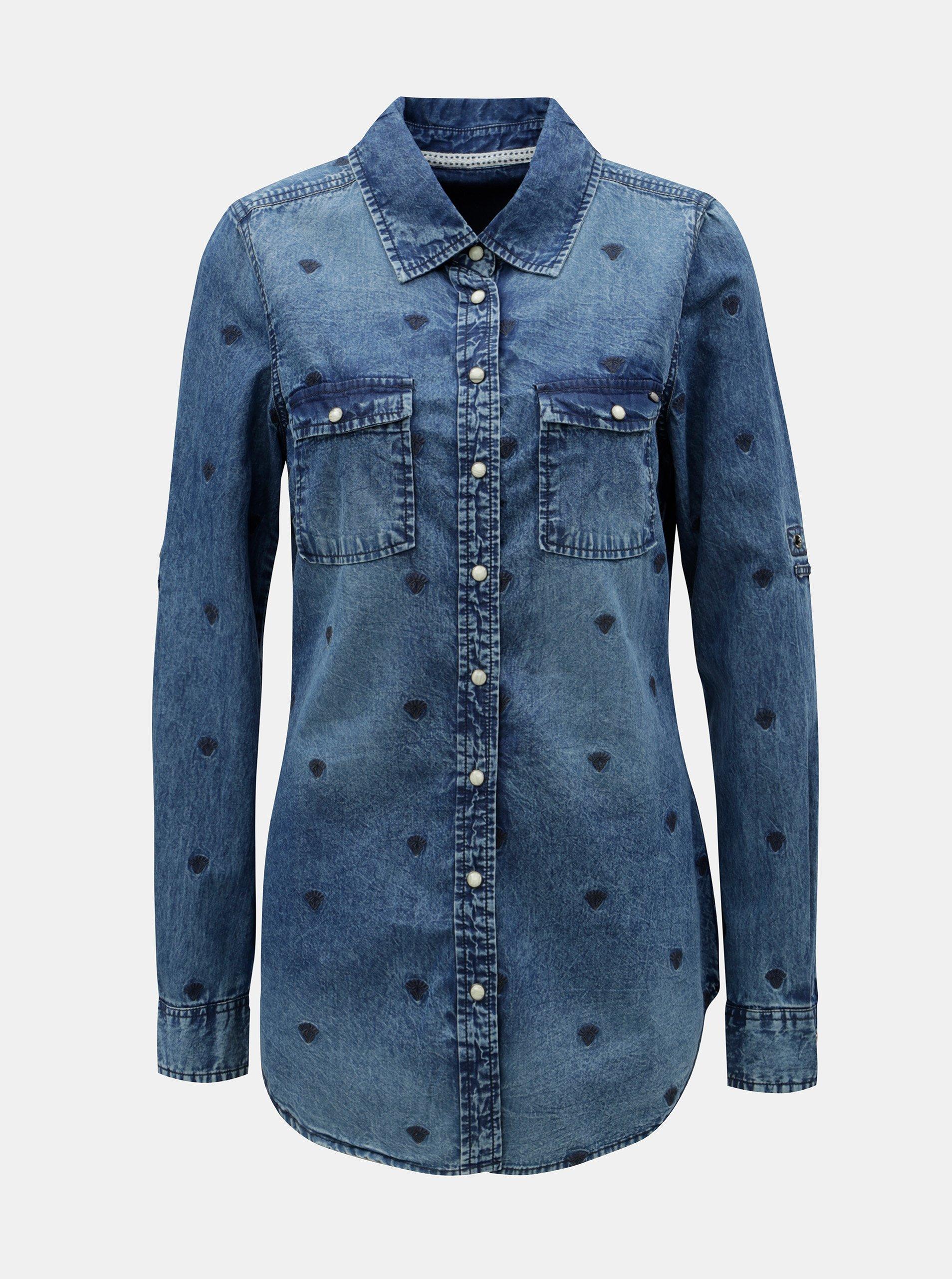 Modrá dámská dlouhá košile s výšivkami Cars