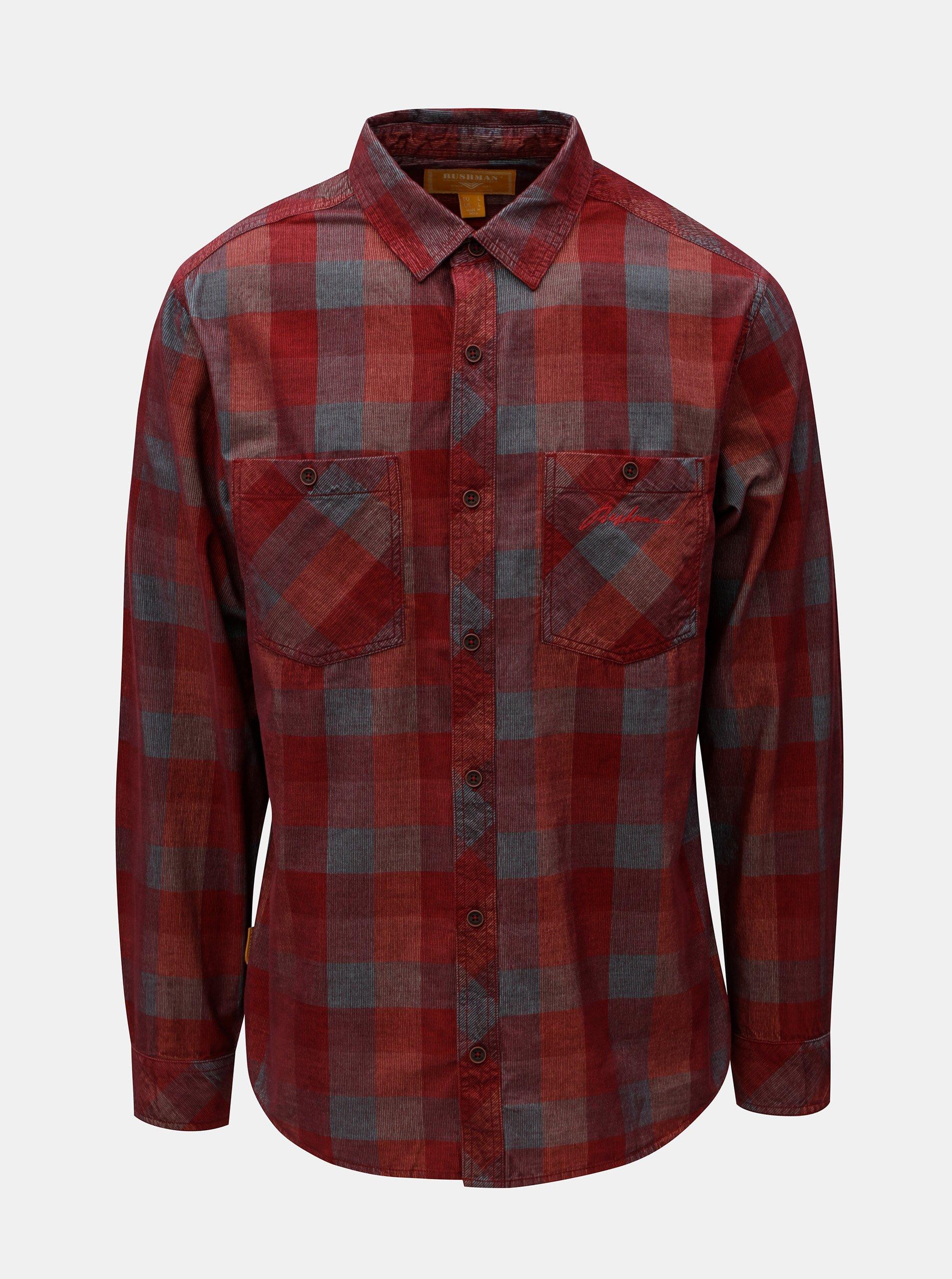 Červená pánská kostkovaná manšestrová košile BUSHMAN Zap a4d34f87c4