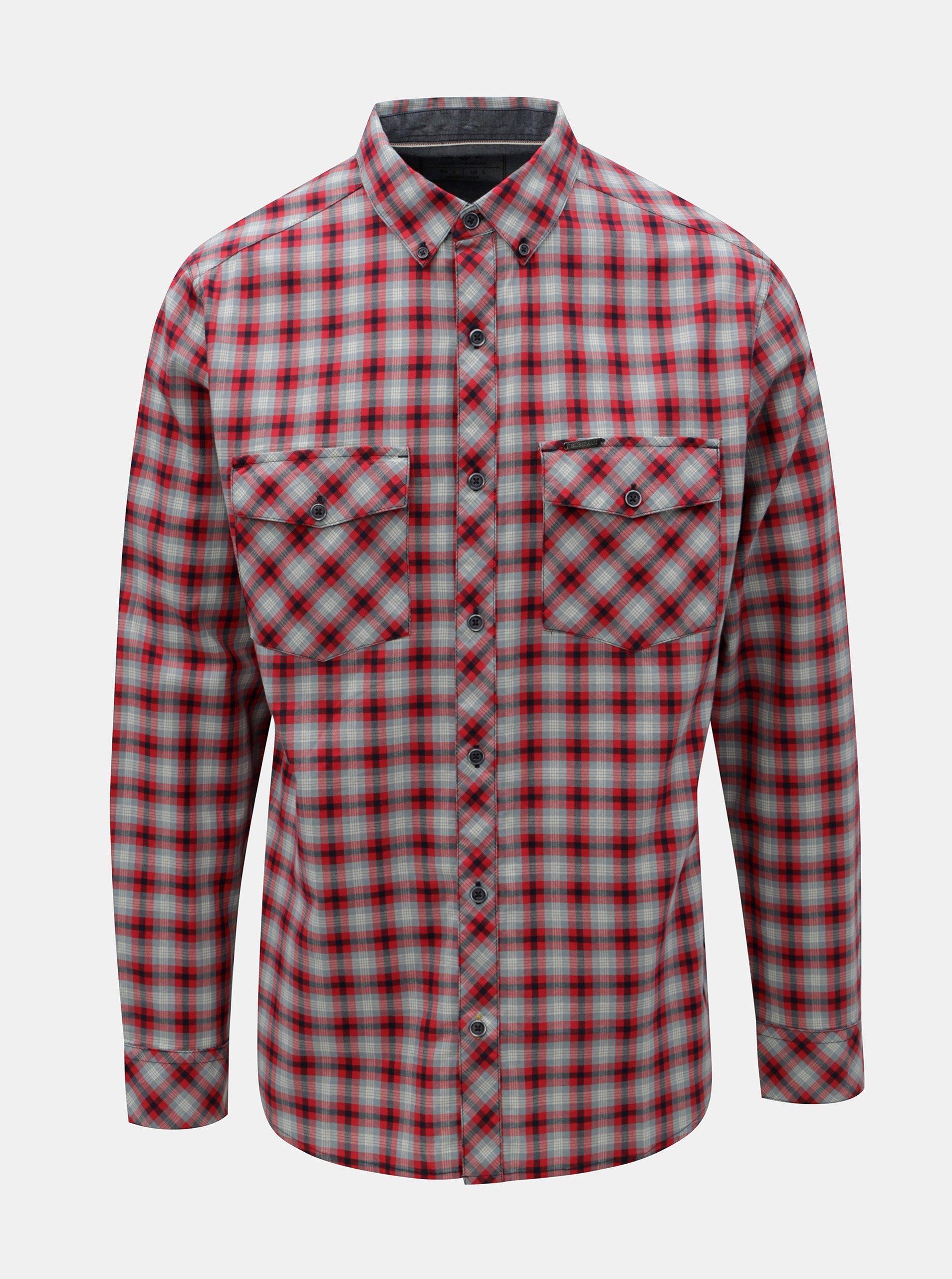c146eebb83d Modro-červená pánská kostkovaná košile BUSHMAN Gresham