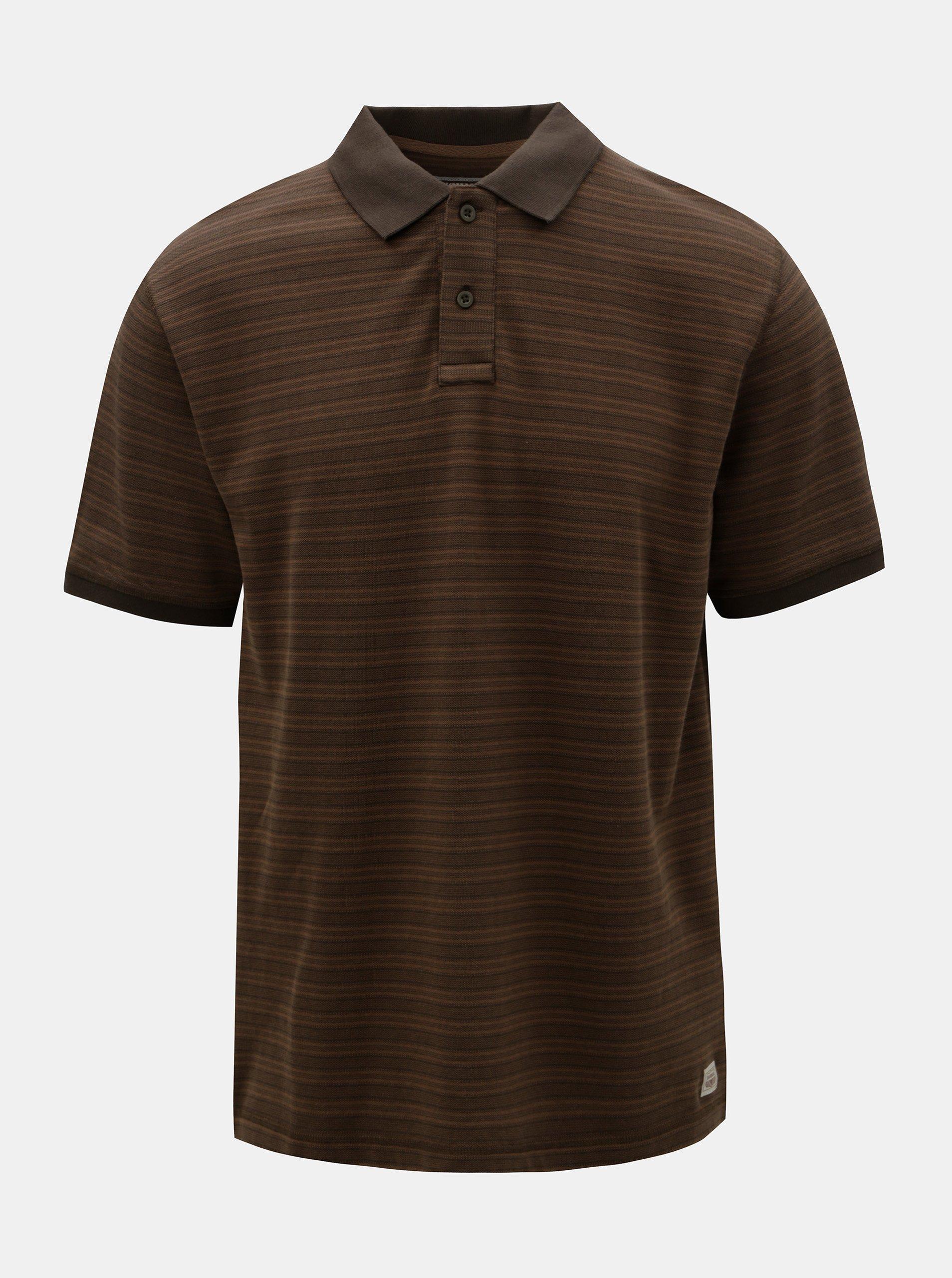 927b95a2b49 Hnědé pánské pruhované polo tričko BUSHMAN Roseglen