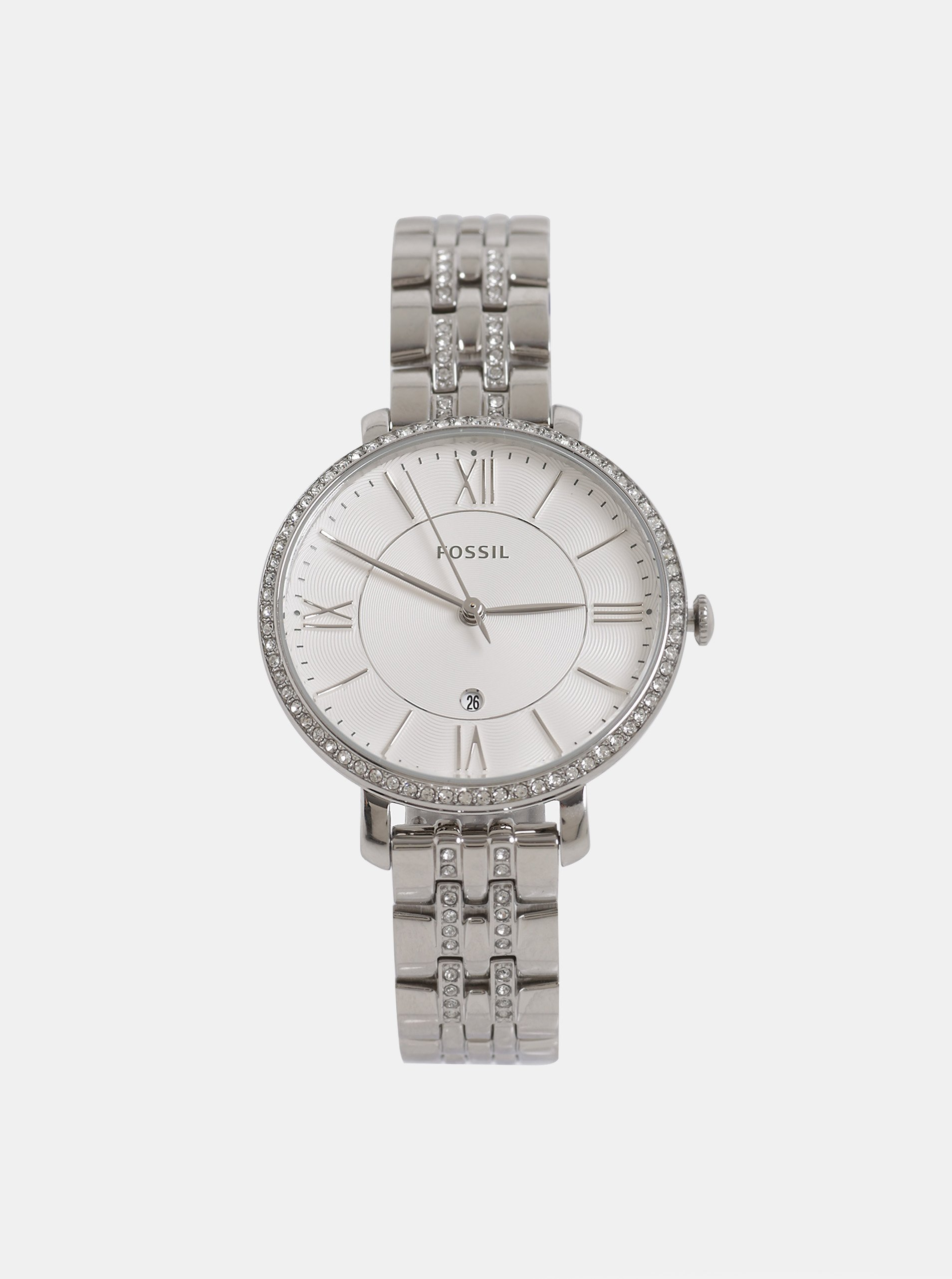 Dámske hodinky v striebornej farbe Fossil Jacqueline d2c6e0b8186