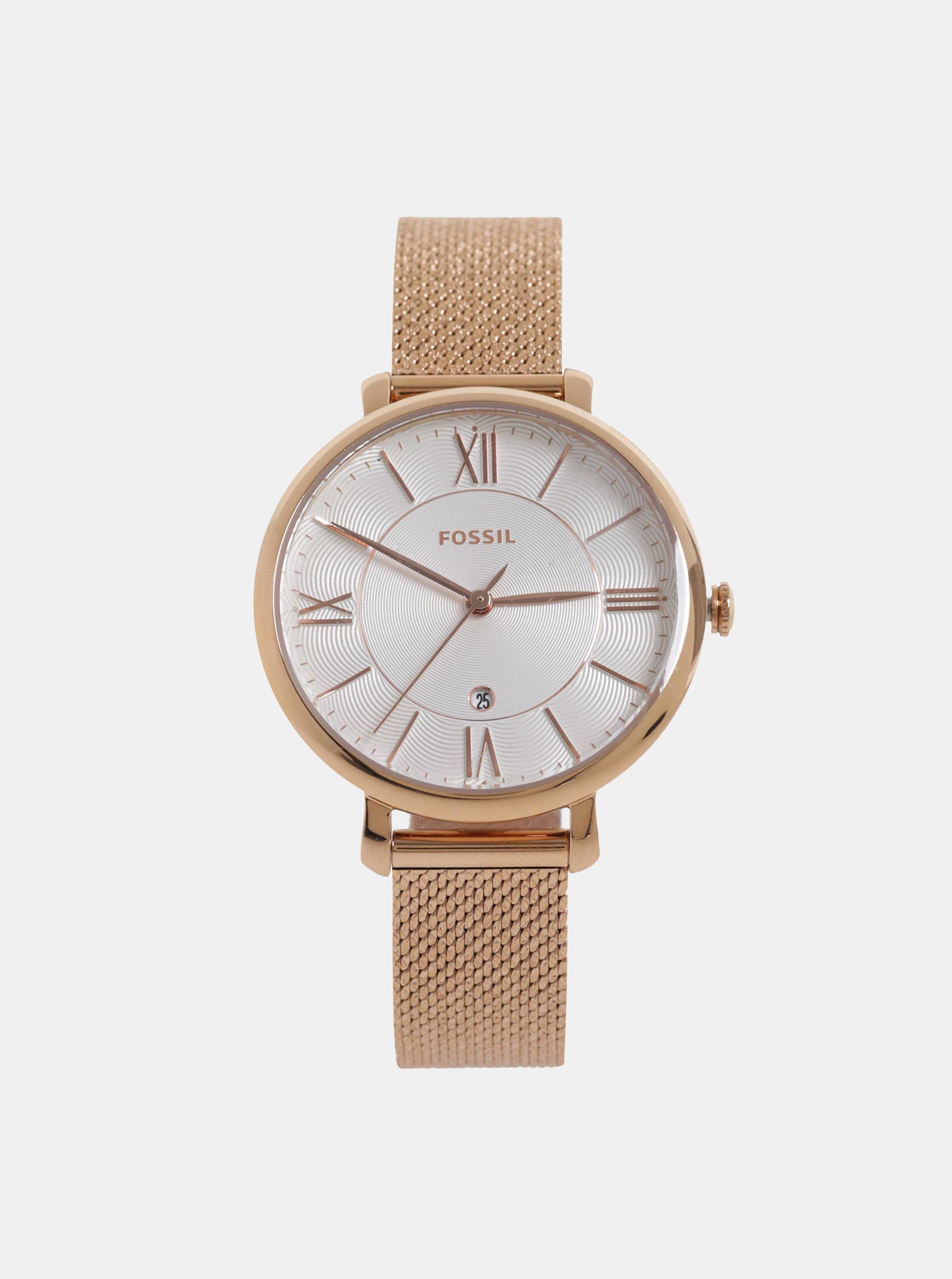 Dámské hodinky v růžovozlaté barvě Fossil Jacqueline