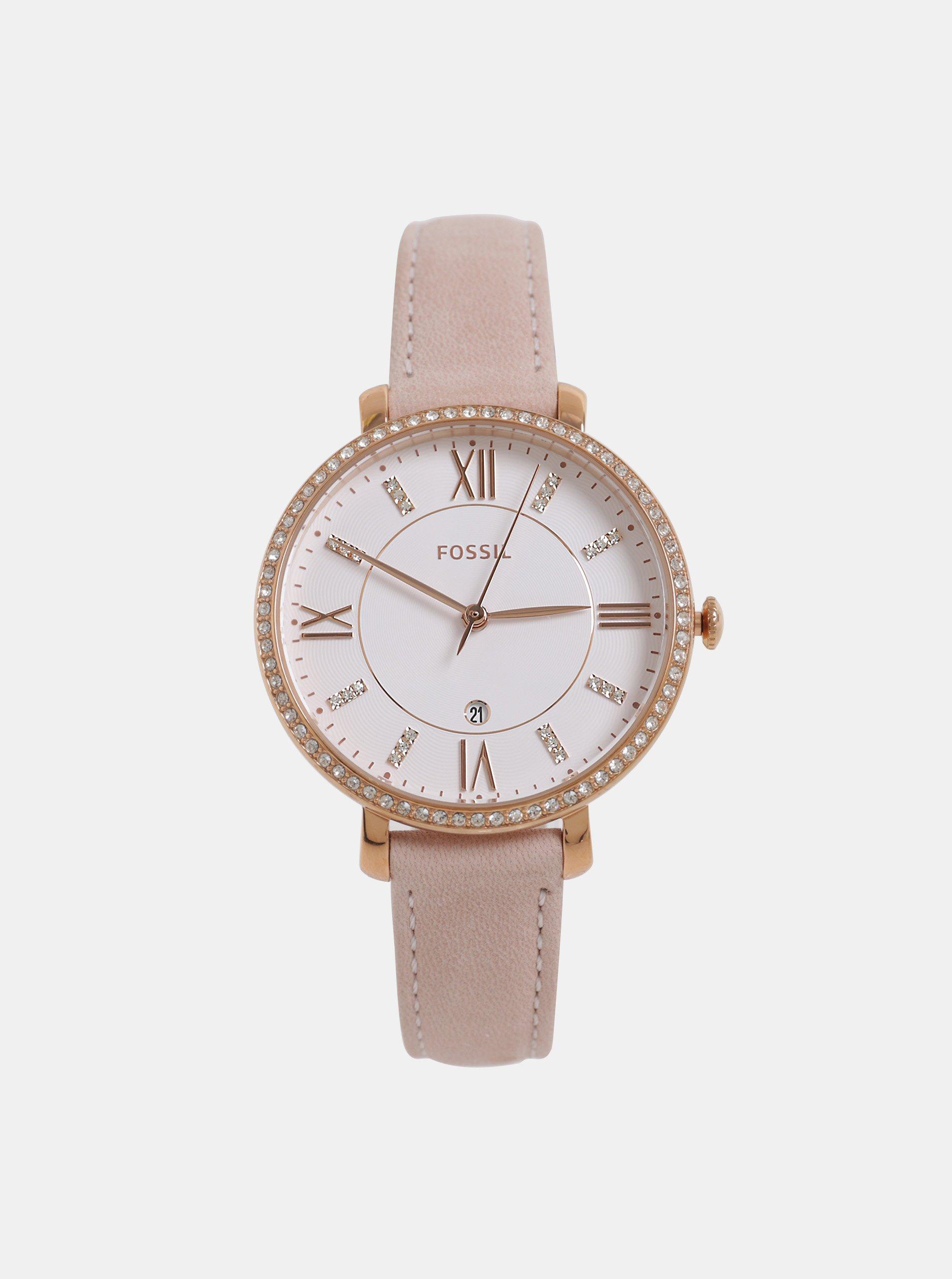 Růžové dámské hodinky s koženým řemínkem Fossil Jacqueline