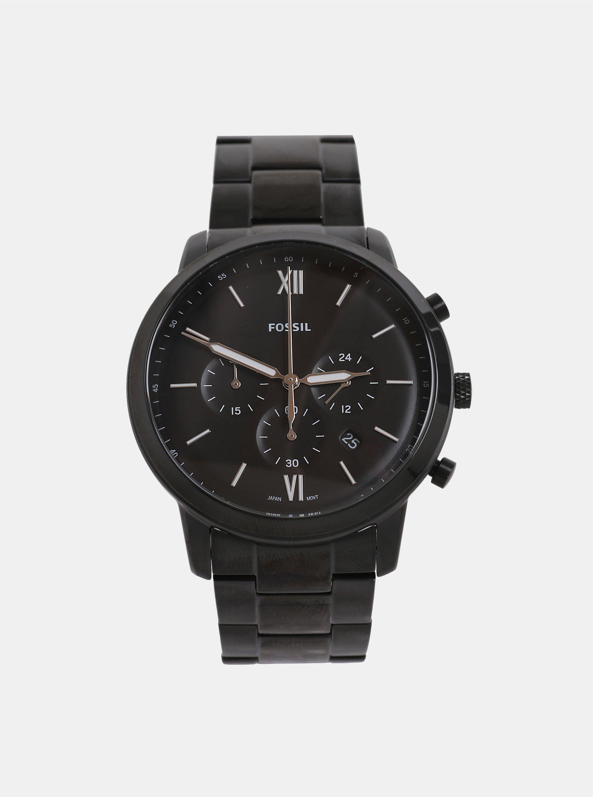 Čierne pánske hodinky Fossil Neutra