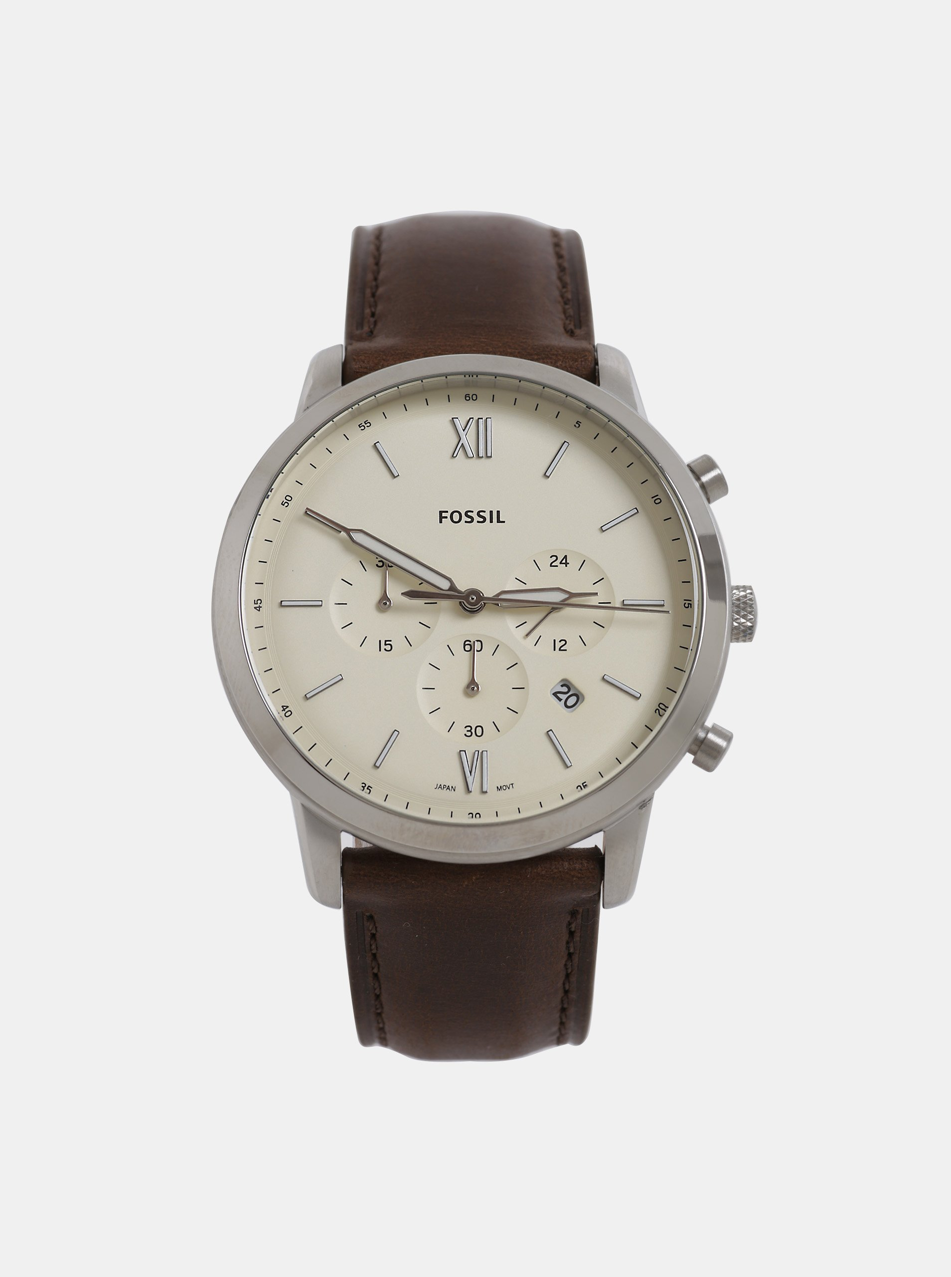 Hnědé pánské hodiny s koženým páskem Fossil Neutra Chrono