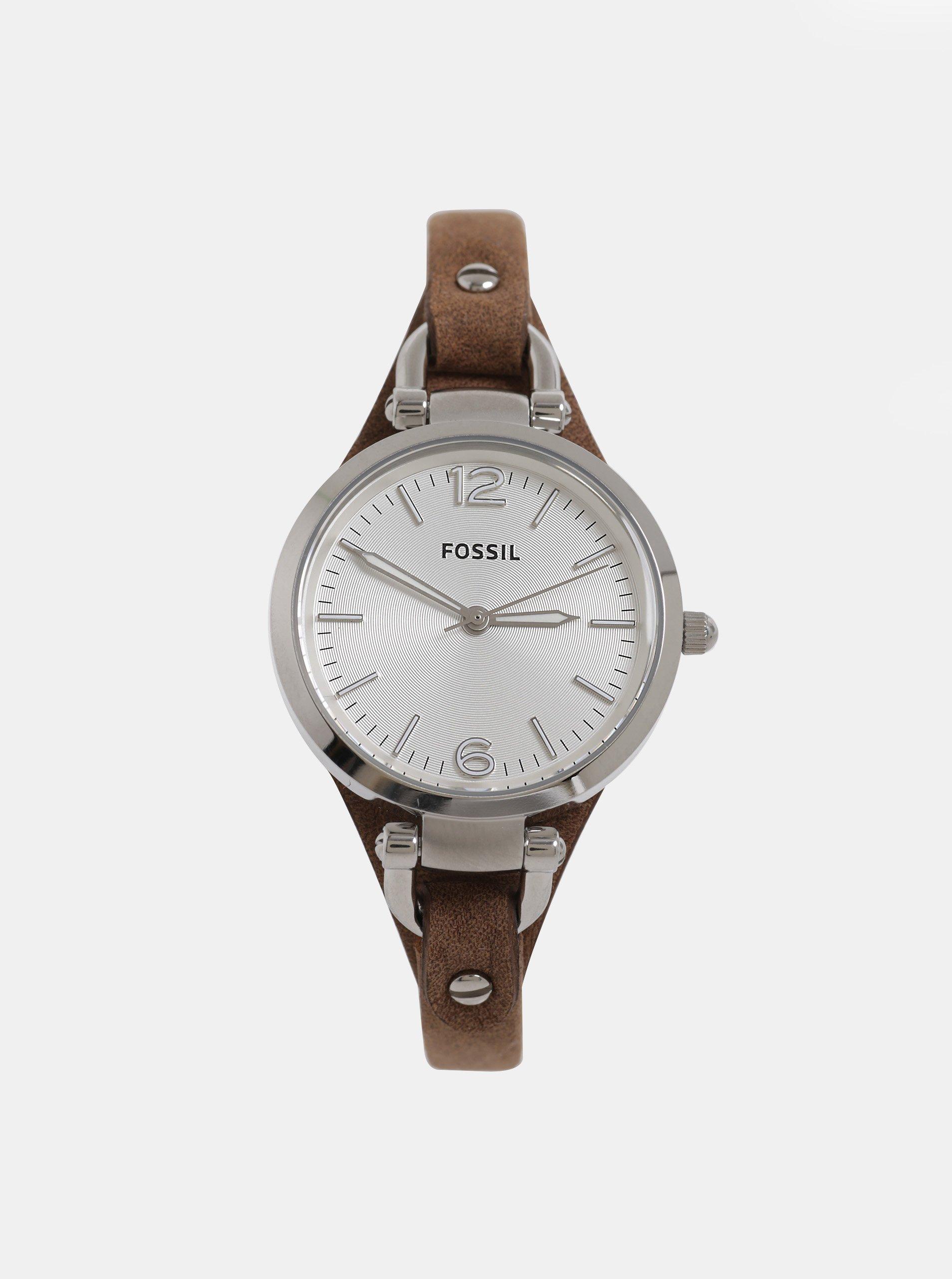 6a62ae891cc Hnědé dámské hodinky s koženým páskem Fossil Georgia
