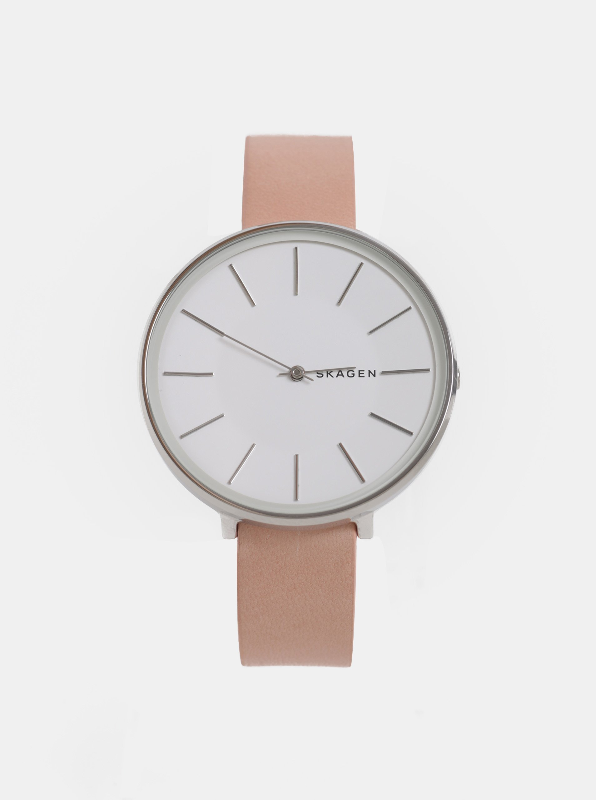 Růžové dámské hodinky s koženým páskem Skagen 30ba21b540