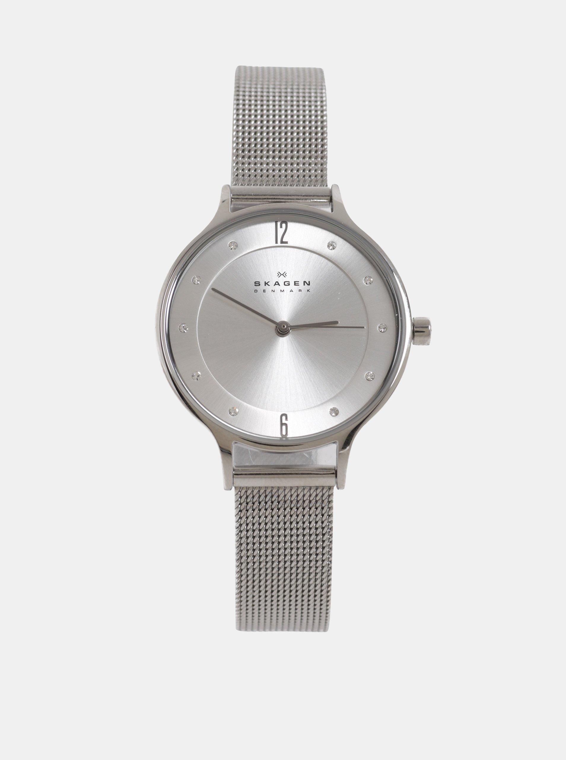 bb1ad0fbd5 Dámské hodinky s nerezovým páskem ve stříbrné barvě Skagen