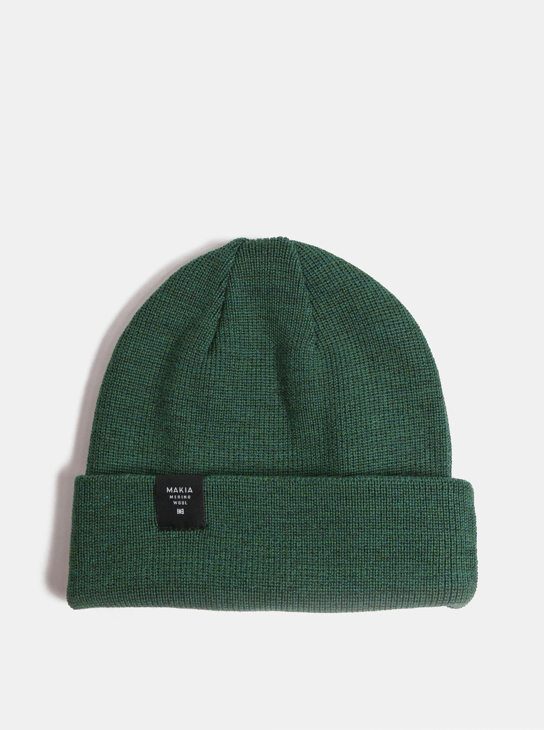 Zelená unisex čiapka z merino vlny Makia