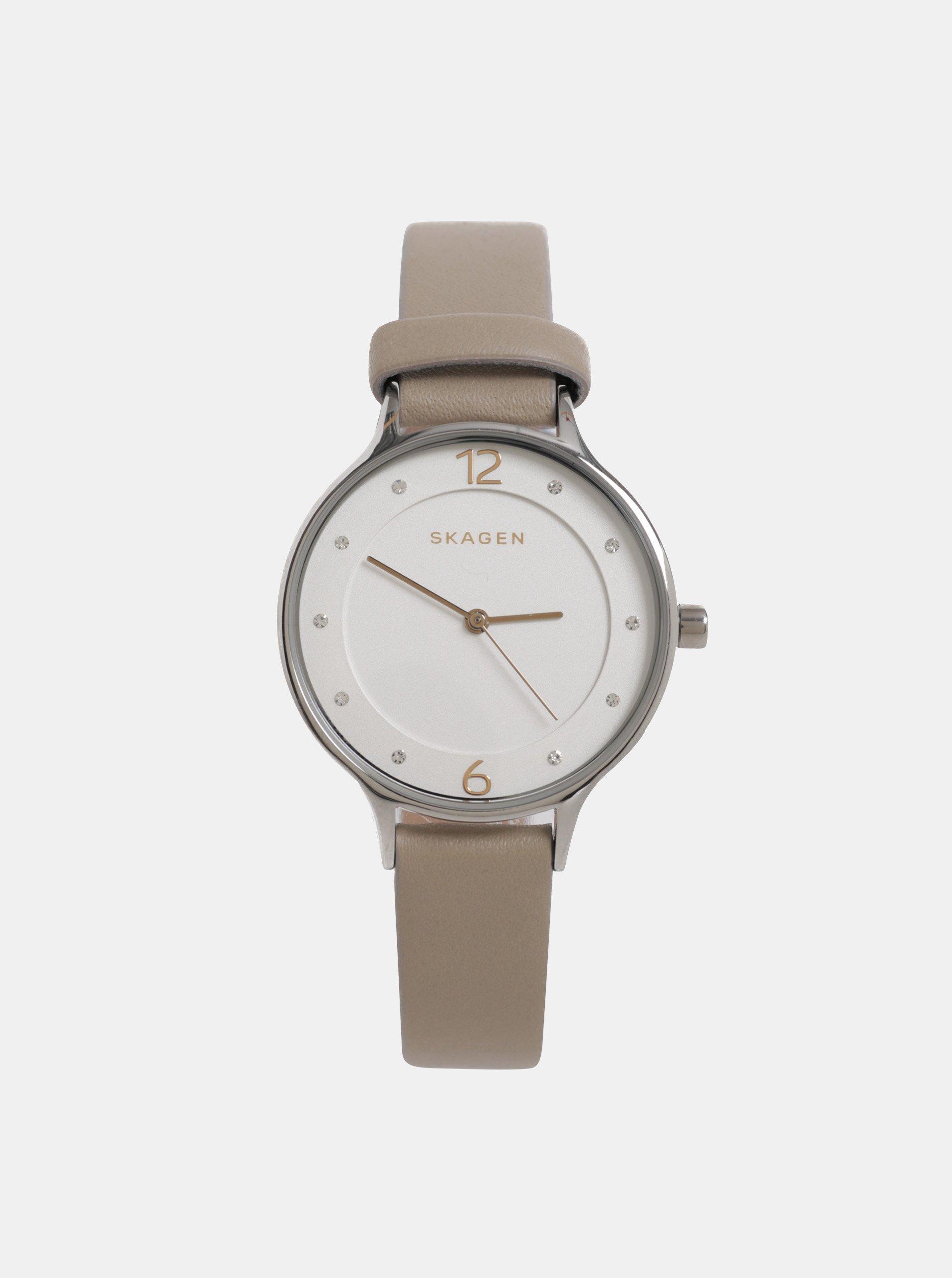 91da49a3f4 Béžové dámske hodinky s koženým remienkom Skagen