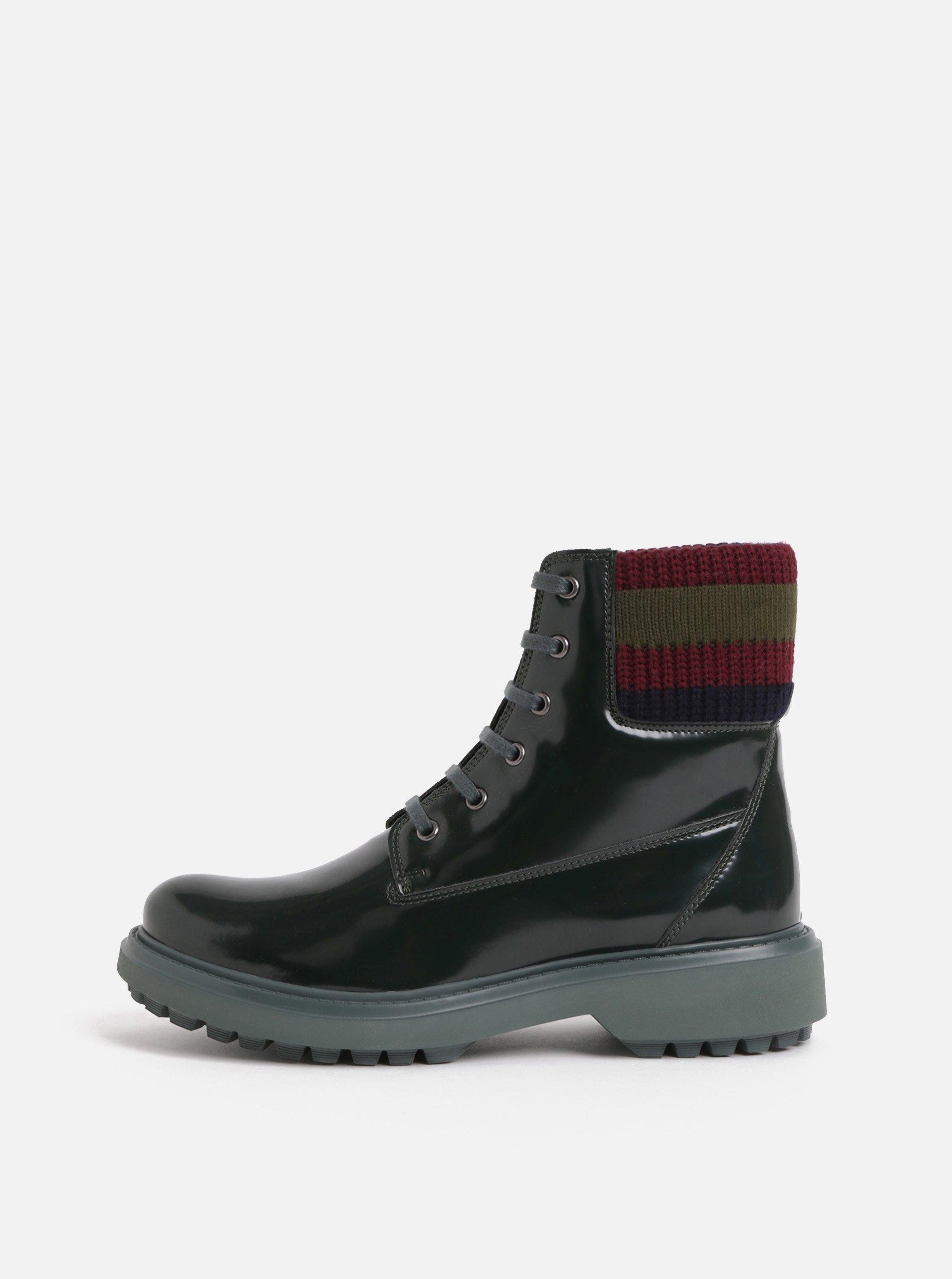Tmavě zelené dámské kotníkové boty s úpletovým lemem Geox Asheely