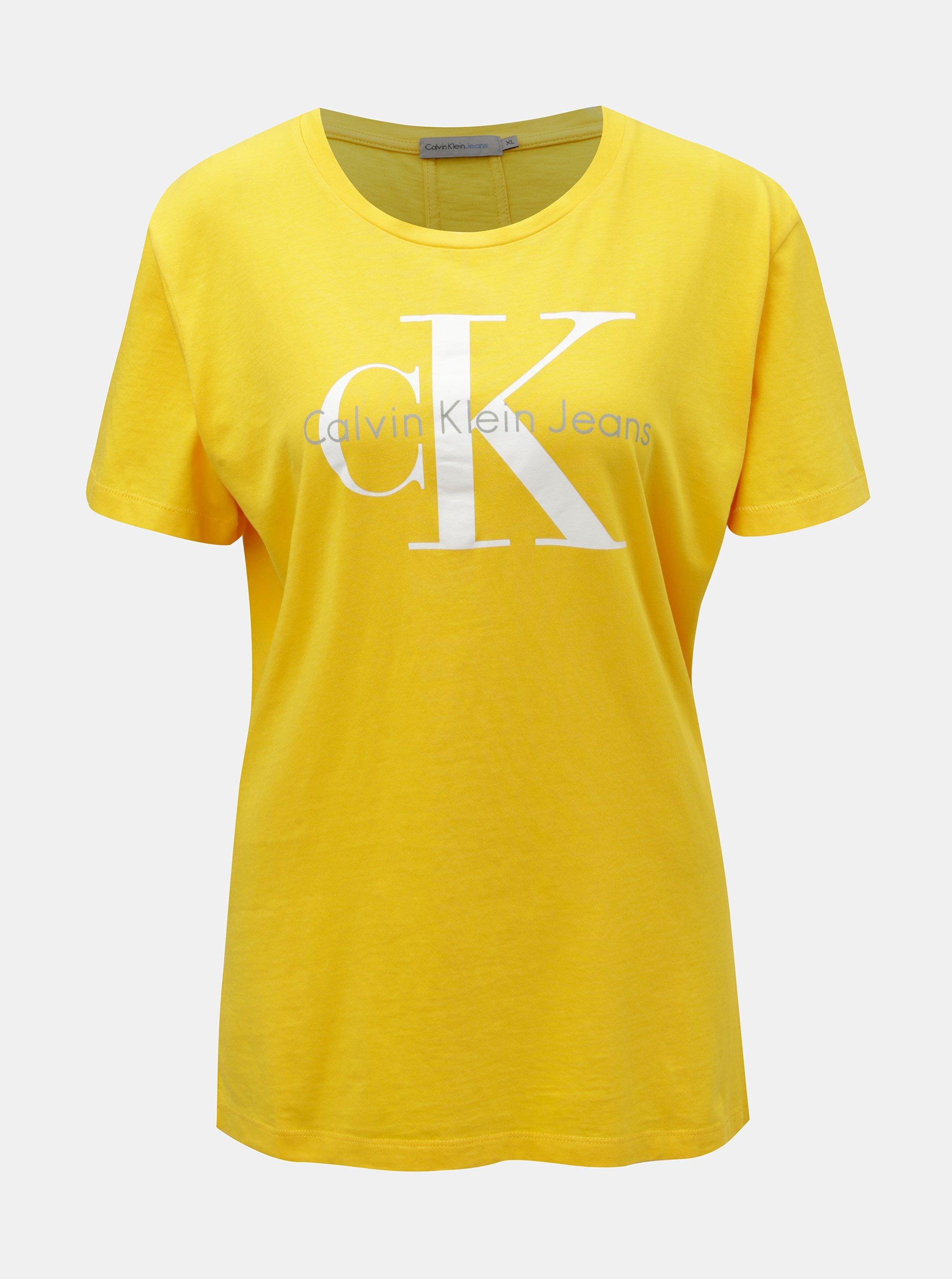 1251679df7cc Žlté dámske tričko s potlačou Calvin Klein Jeans