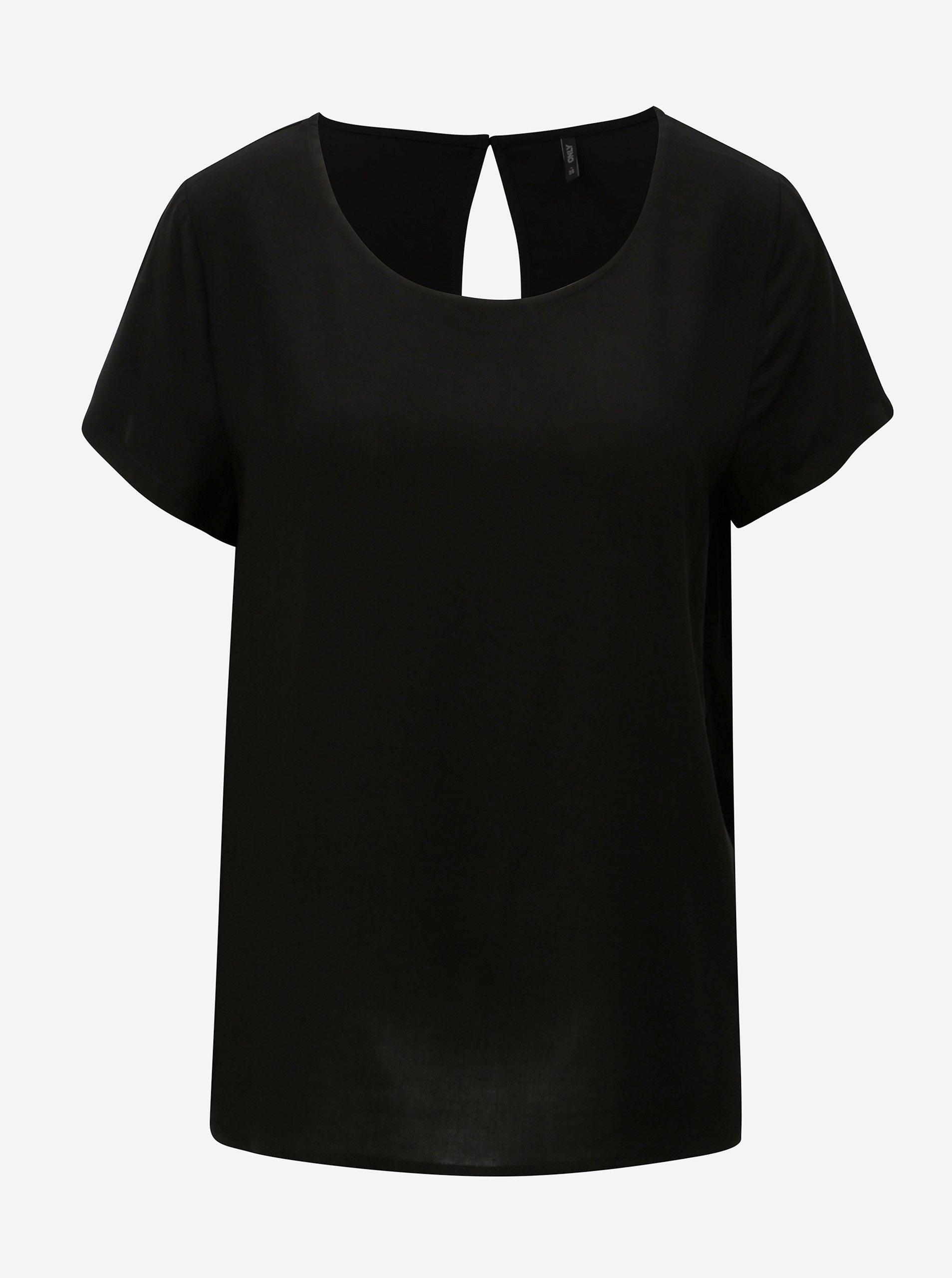 78fab9547cef Čierna voľná blúzka s krátkym rukávom ONLY