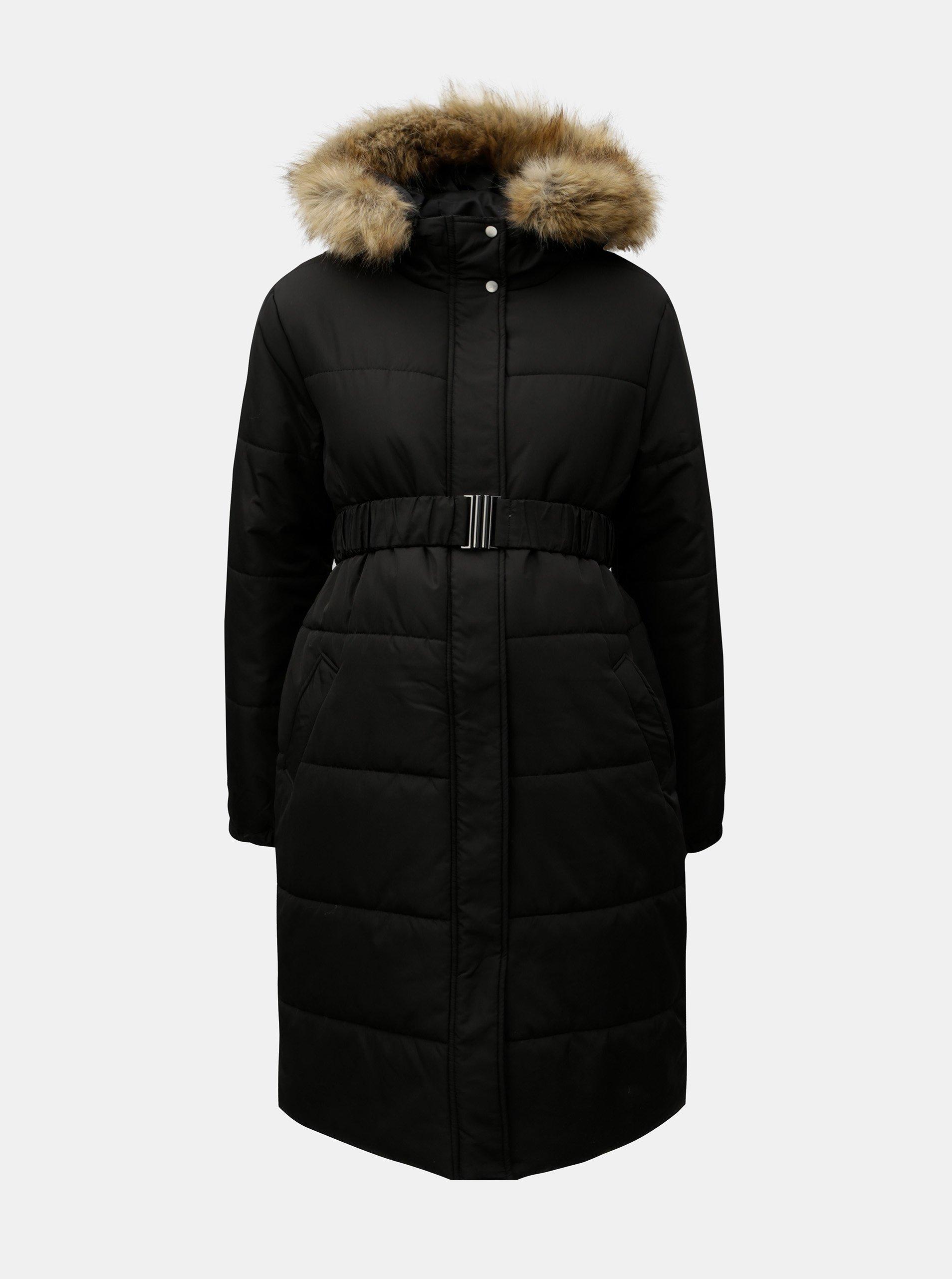 Černý zimní těhotenský kabát s umělým kožíškem Mama.licious Maggie