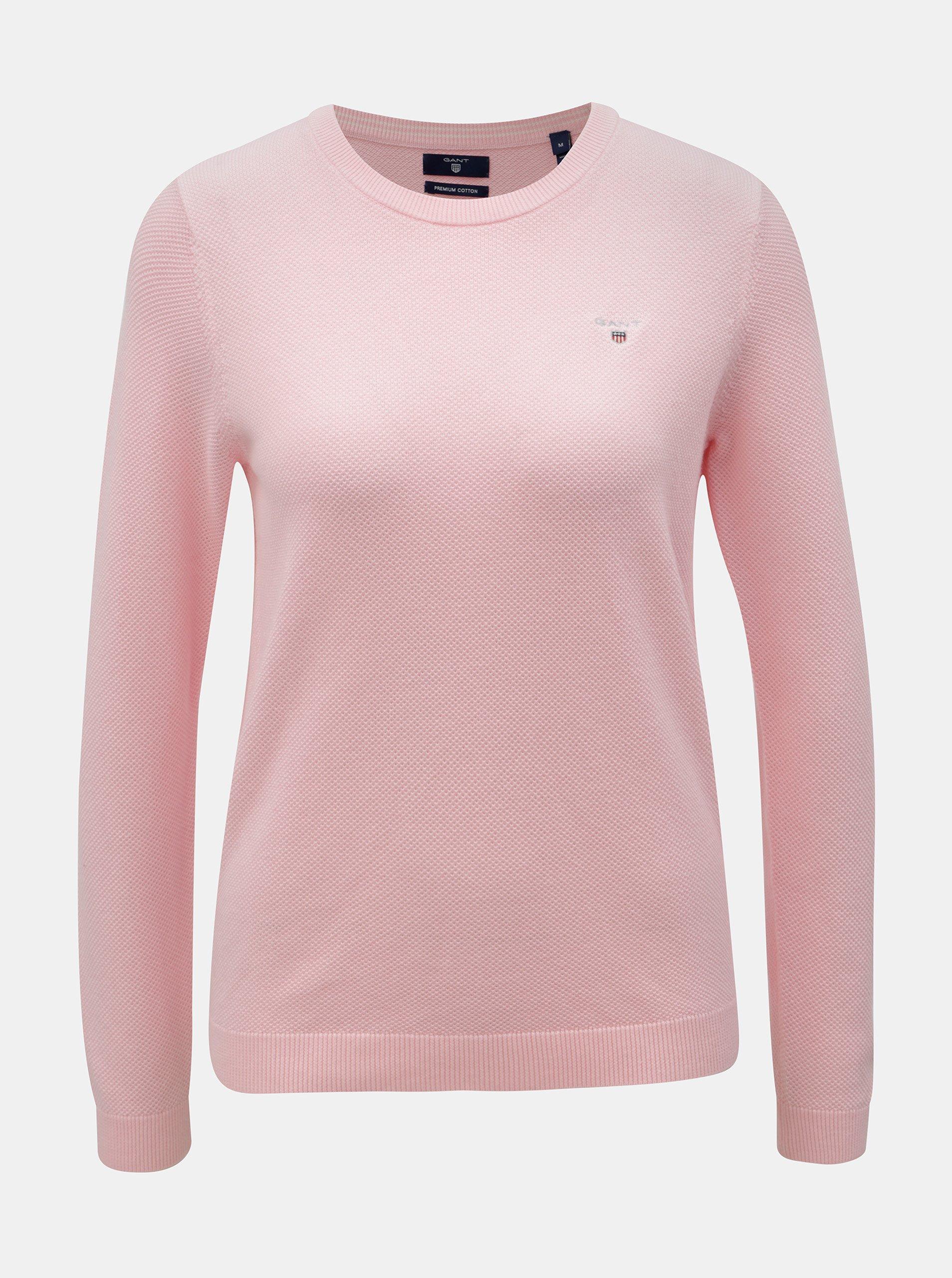 ab5a42cdf272 Ružový dámsky sveter s vyšívaným logom GANT