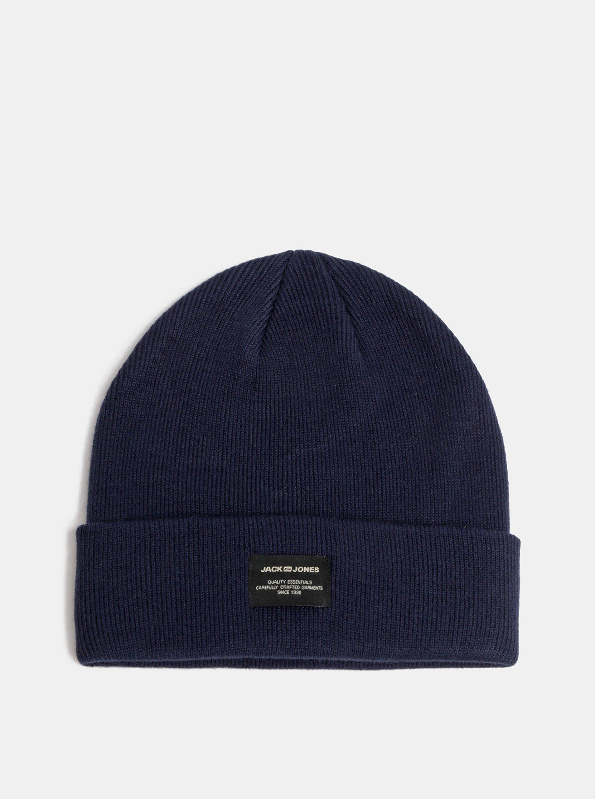 Tmavě modrá pletená zimní čepice Jack & Jones DNA