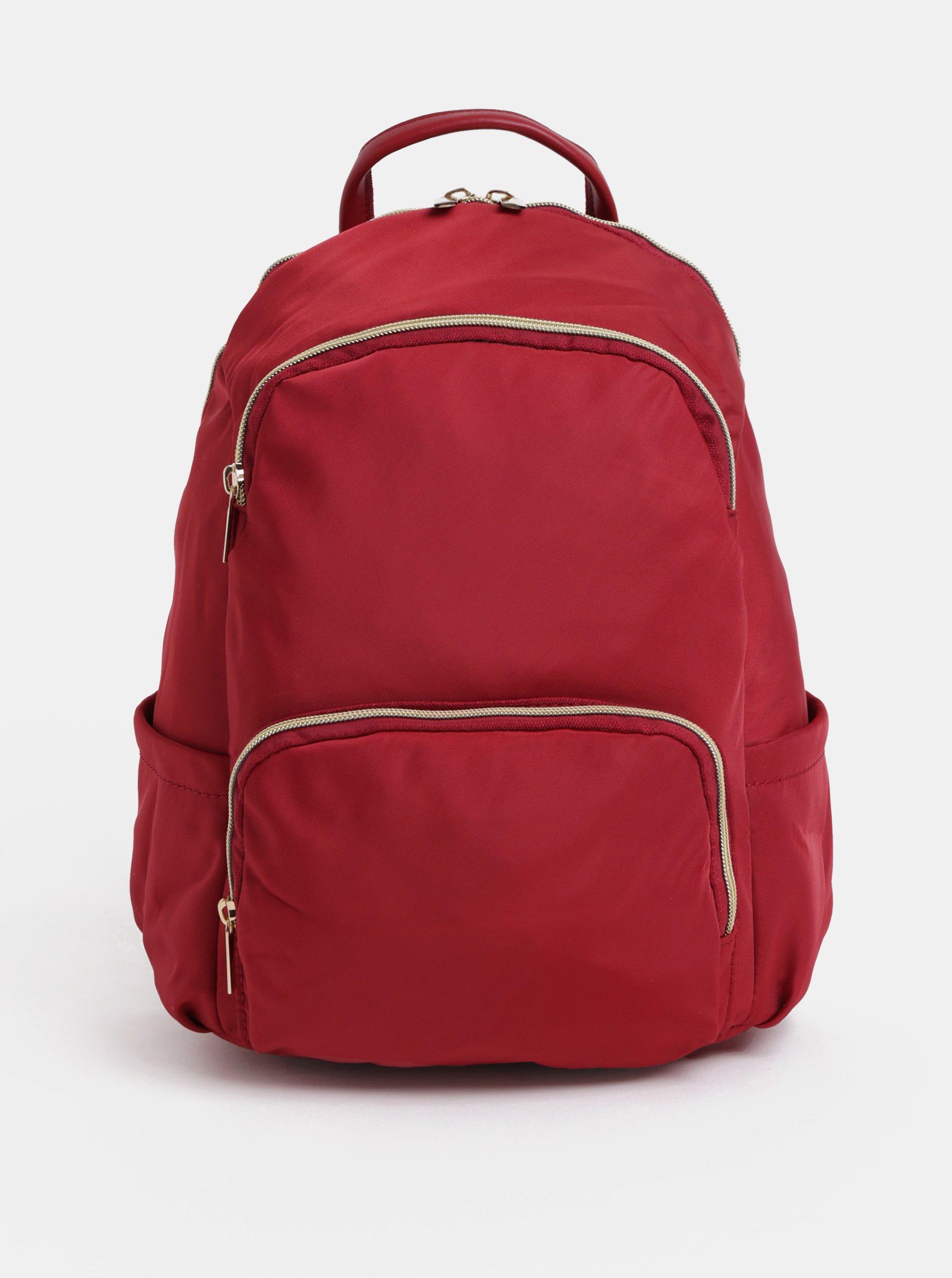 4a9c90fe277 Červený batoh se zipy ve zlaté barvě ZOOT