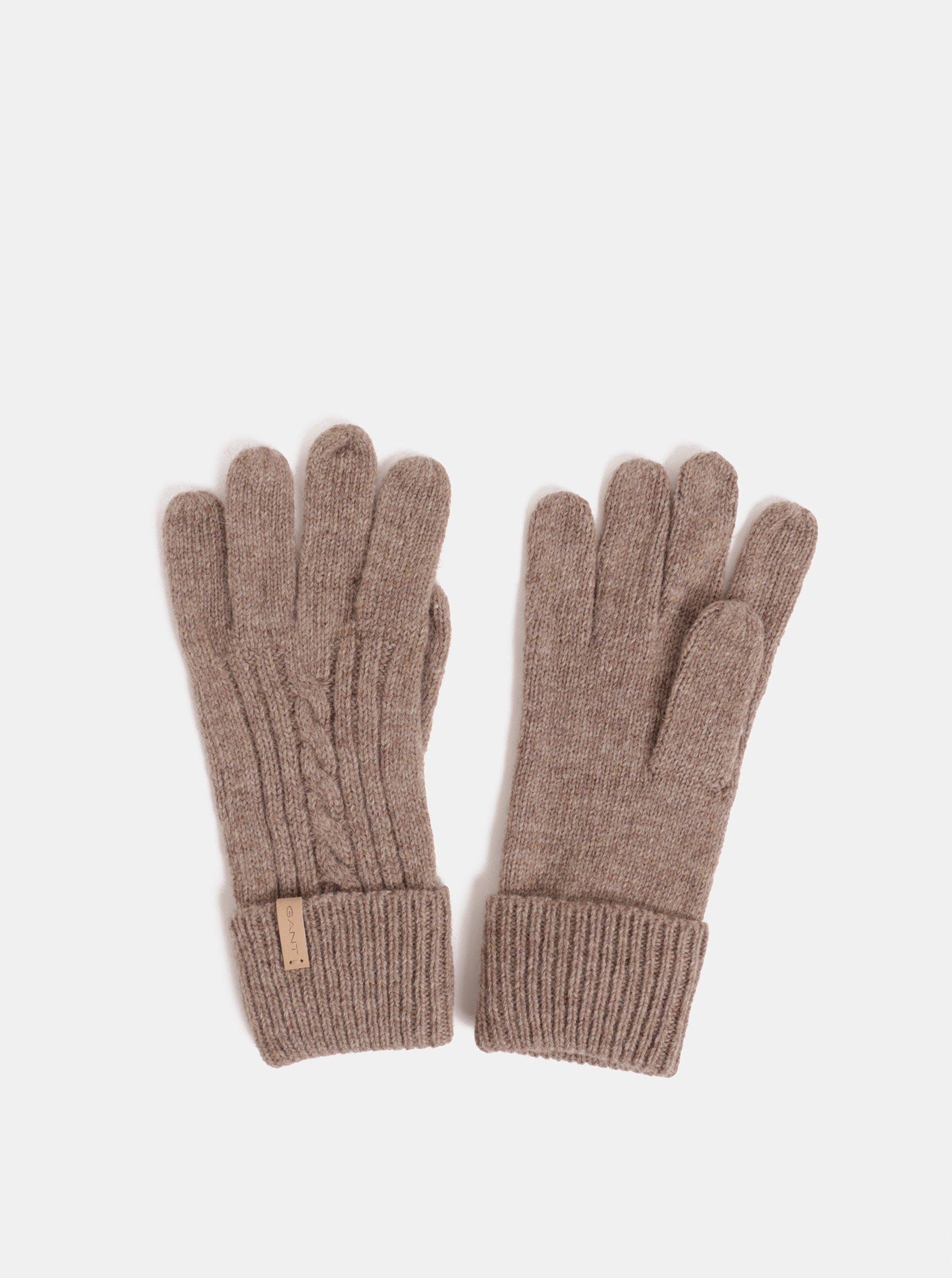 Hnedé dámske rukavice s prímesou vlny GANT