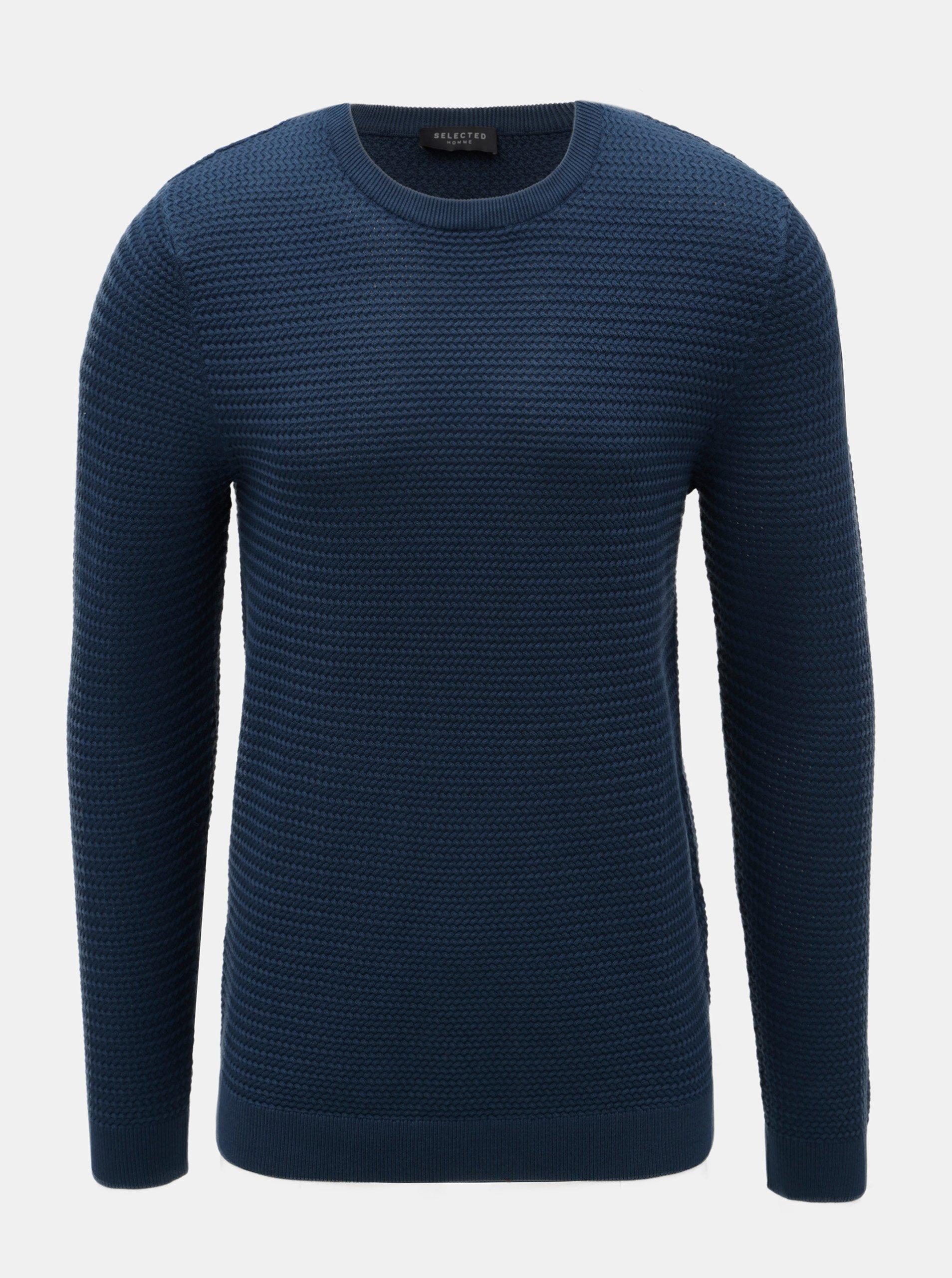 Modrý sveter z merino vlny Selected Homme