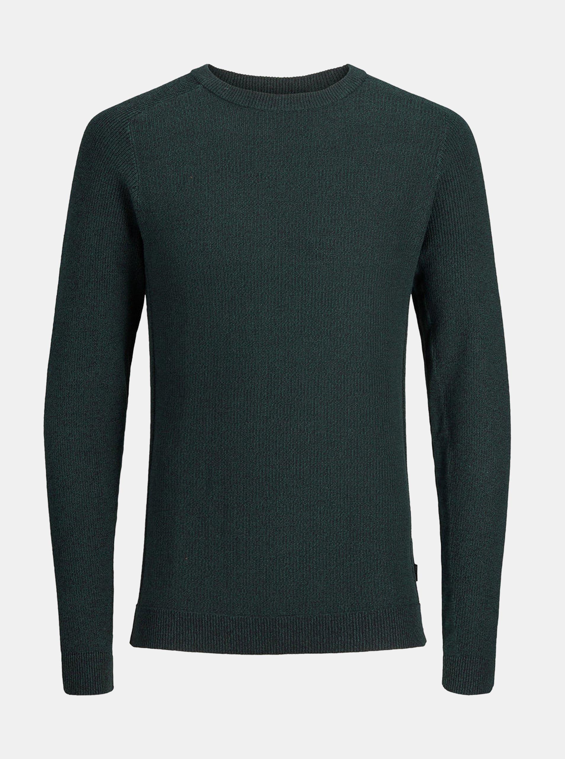 Tmavě zelený žíhaný svetr Jack & Jones Maine