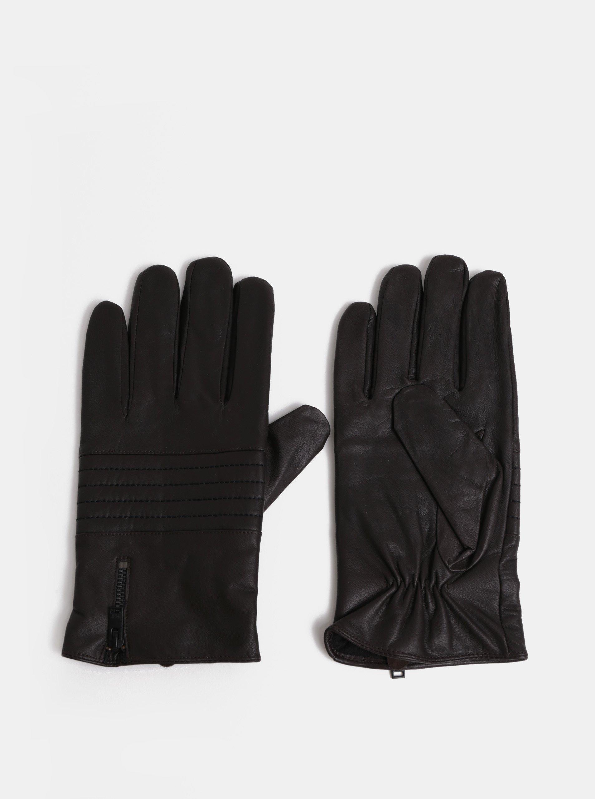 Tmavě hnědé kožené rukavice Selected Homme