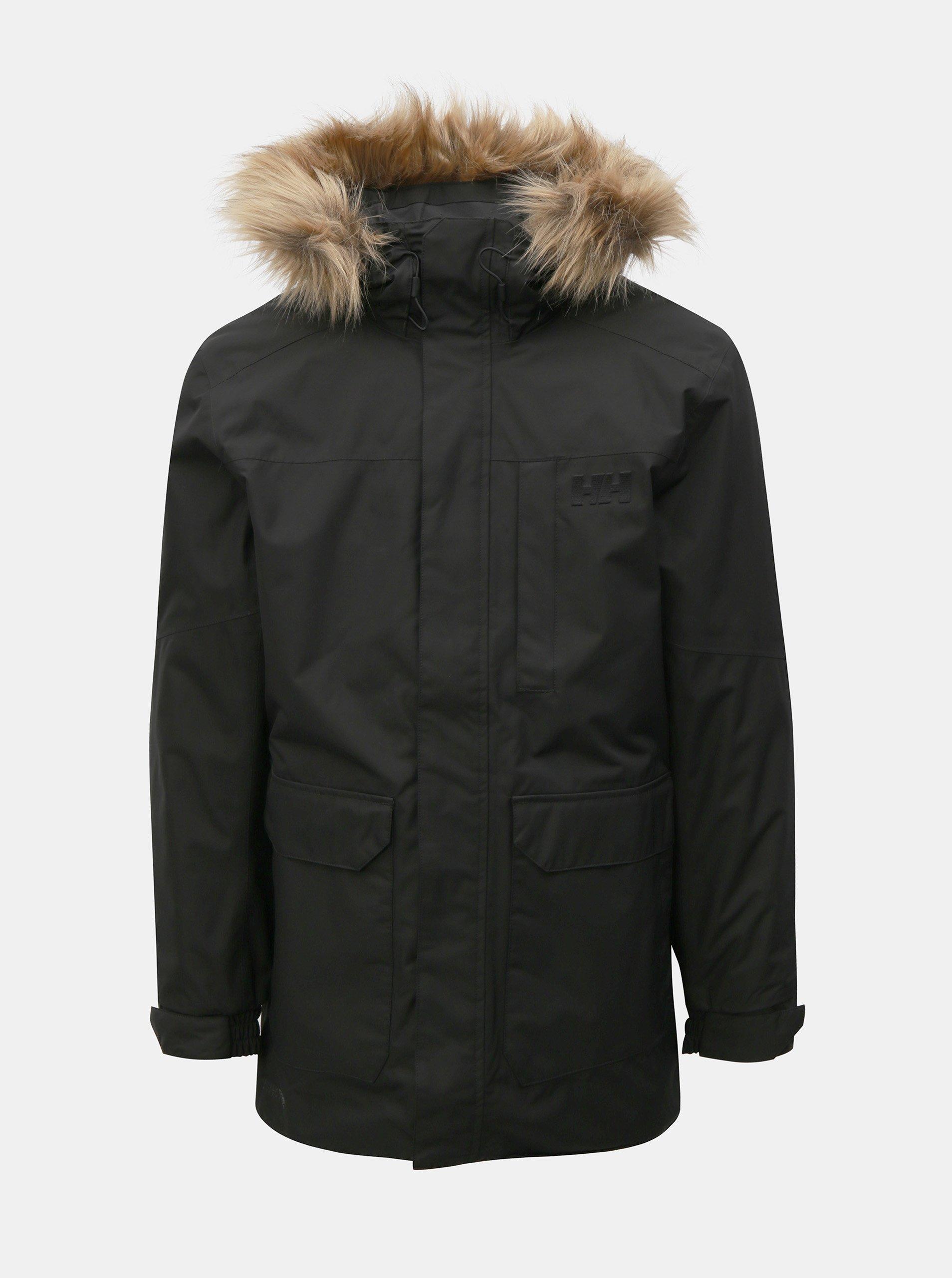 Černá pánská zimní regular fit bunda s umělým kožíškem HELLY HANSEN
