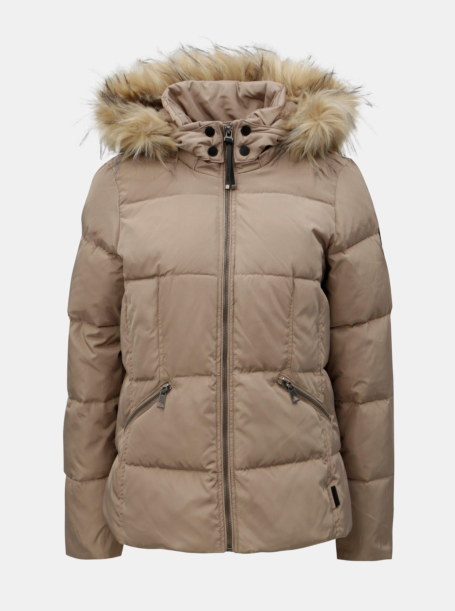 Béžová prešívaná zimná bunda s umelou kožušinkou VERO MODA Wonderland