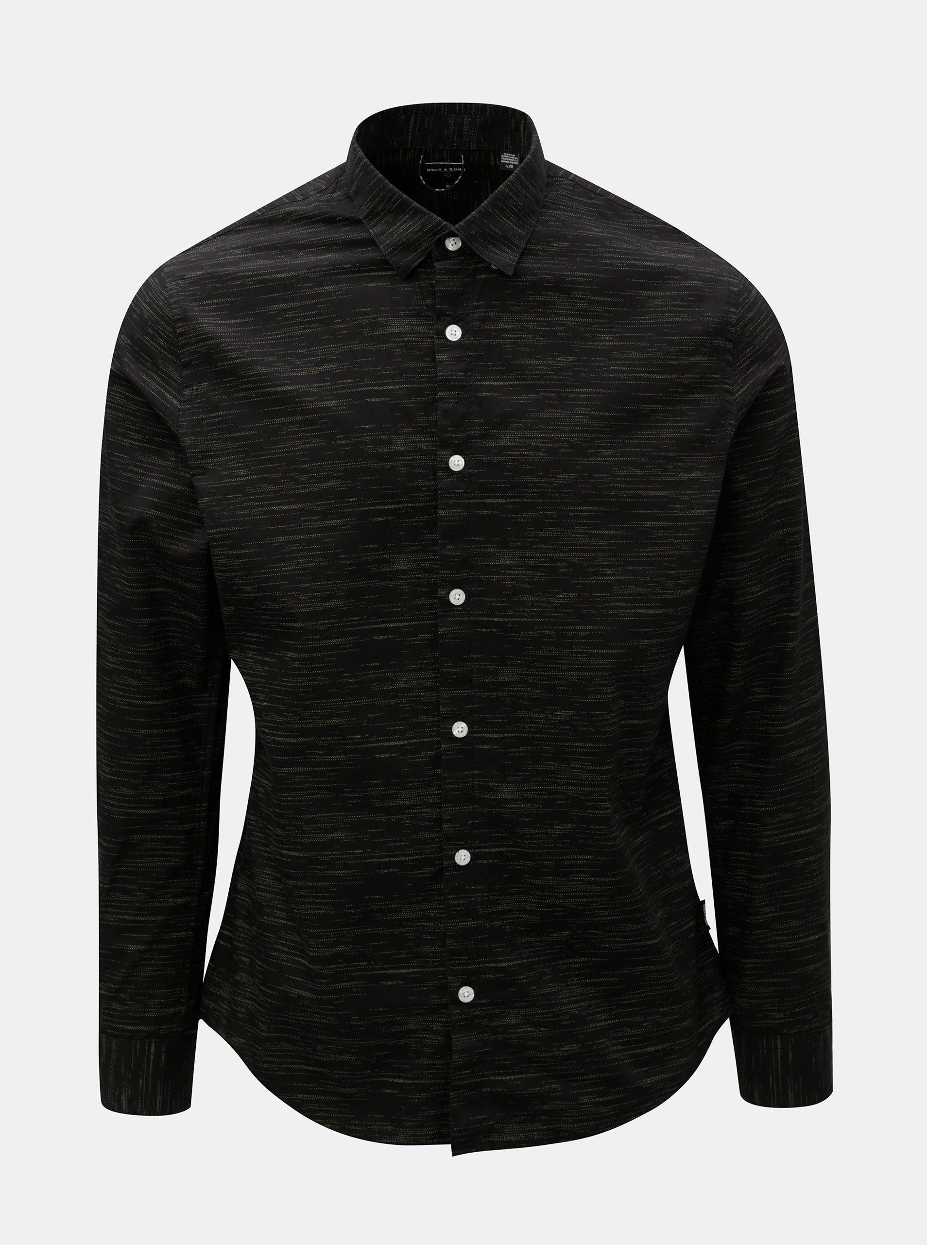 0d5747f4d56 Černá žíhaná slim fit košile ONLY   SONS Oneill