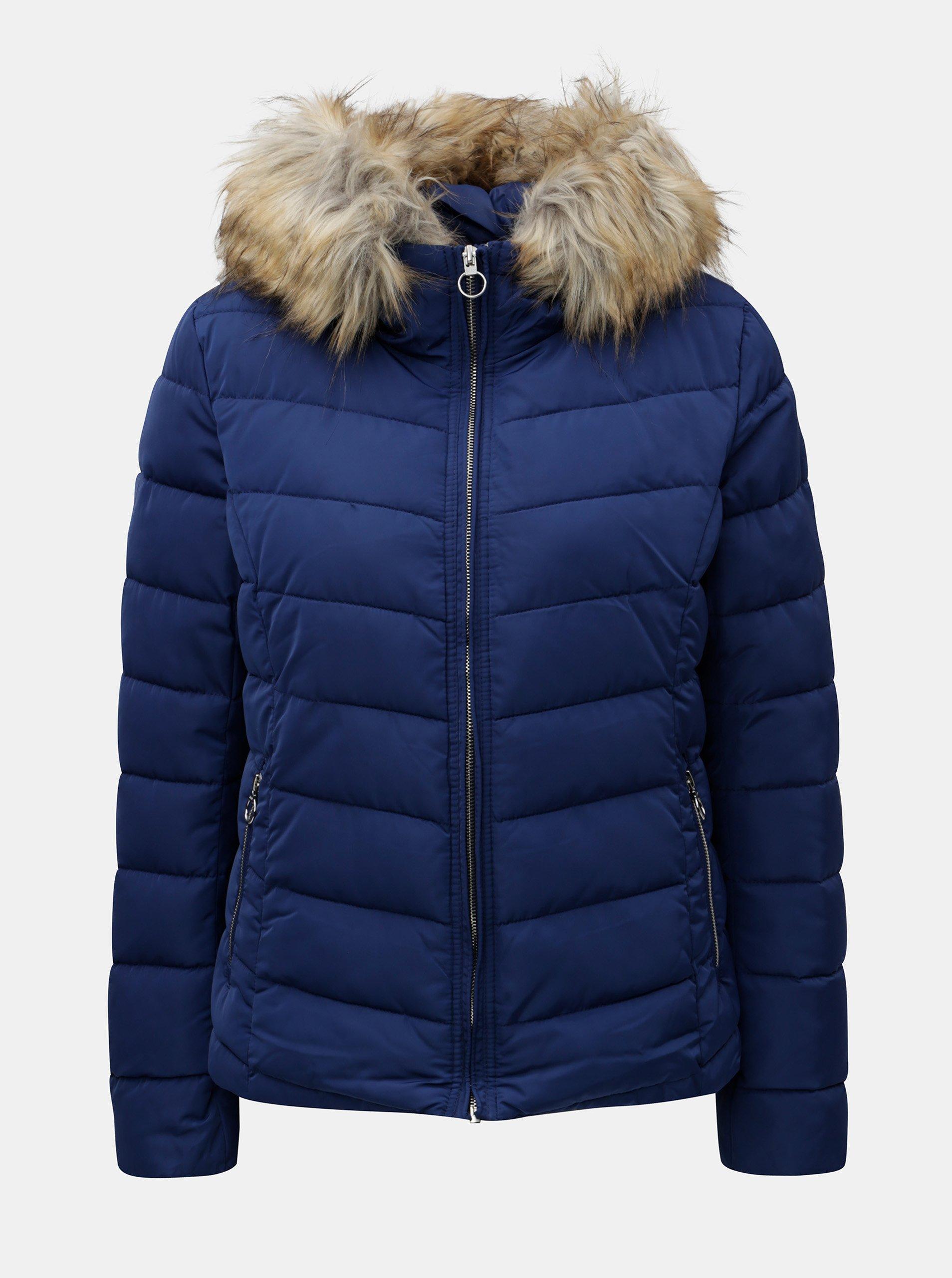 Modrá prešívaná zimná bunda s umelou kožušinkou ONLY Ellan