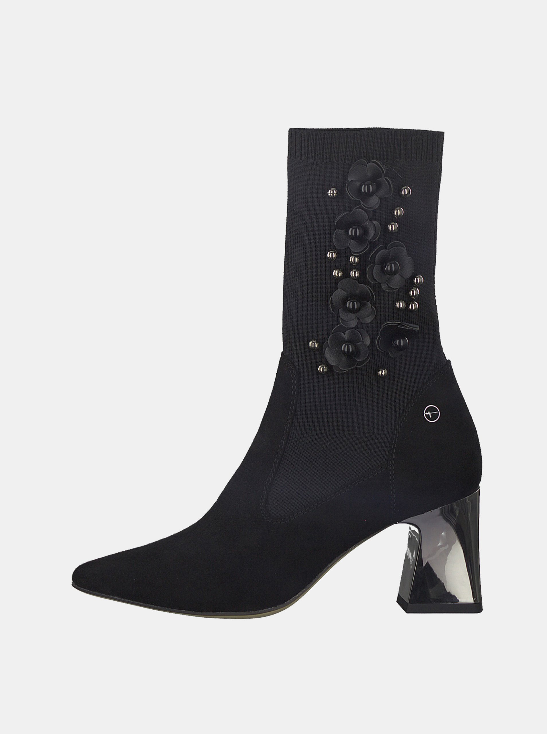 Černé kotníkové boty s korálkovou aplikací Tamaris