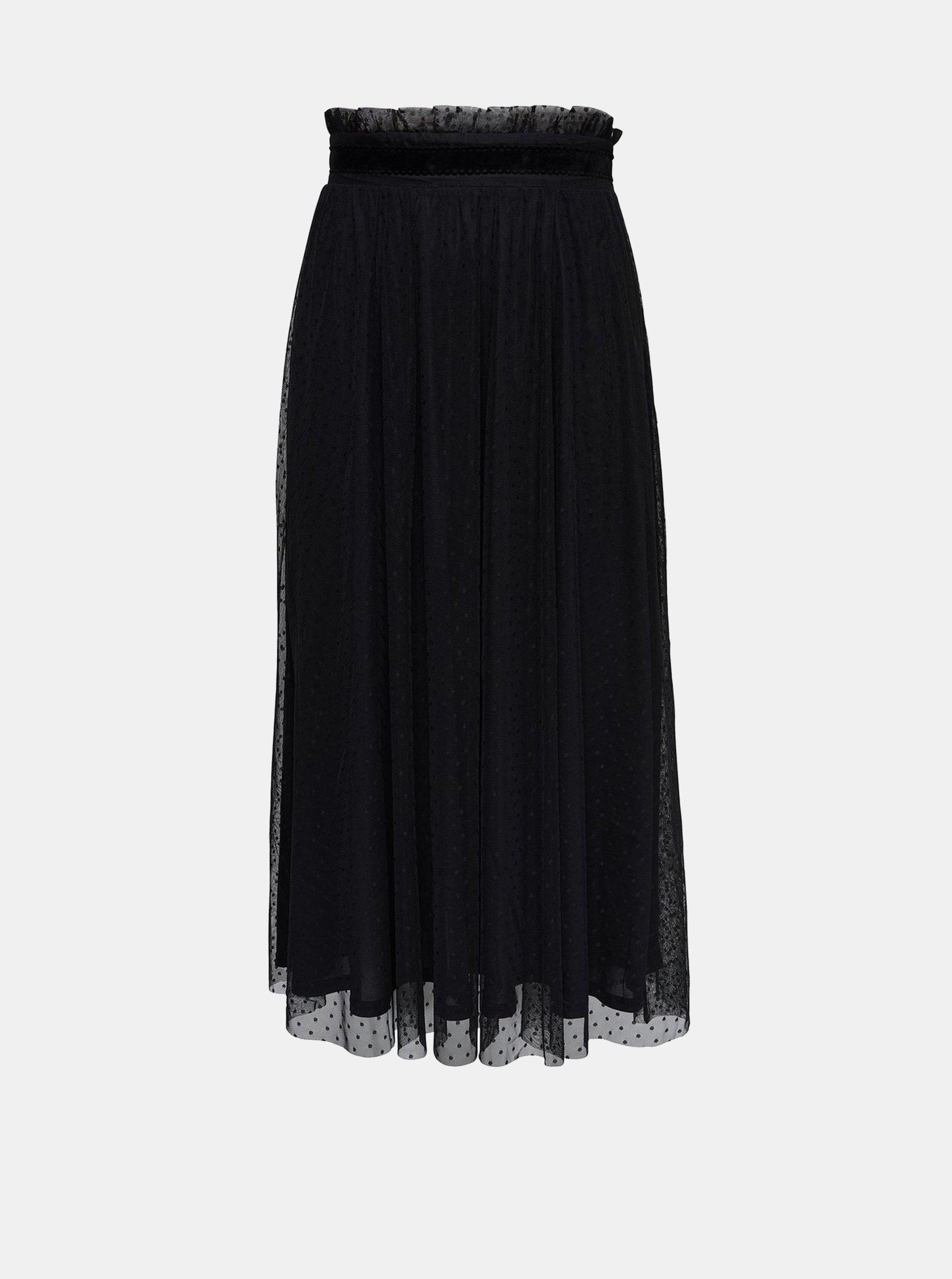 Černá puntíkovaná tylová midi sukně ONLY Rose