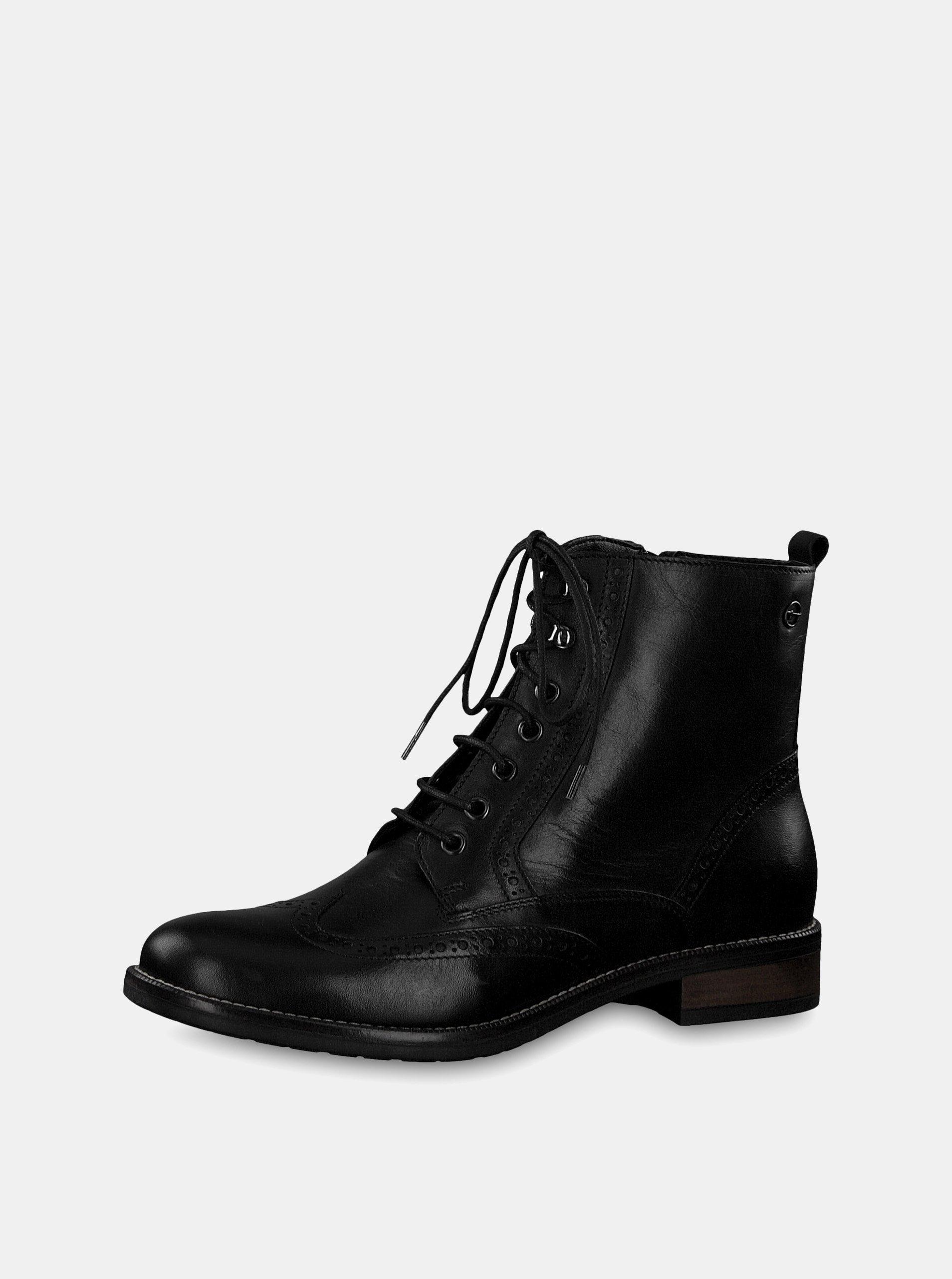 0ce88aa79740 Čierne kožené členkové topánky Tamaris